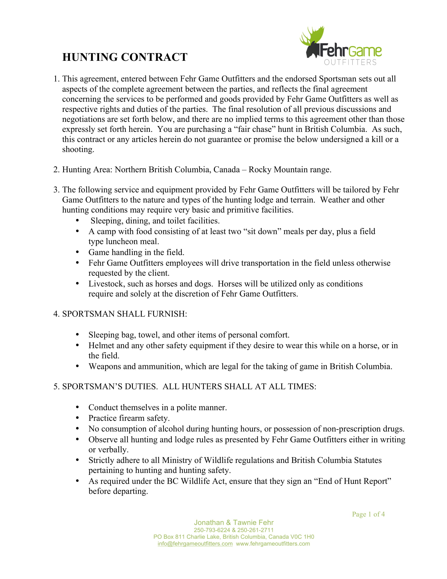 hunting contract form 1