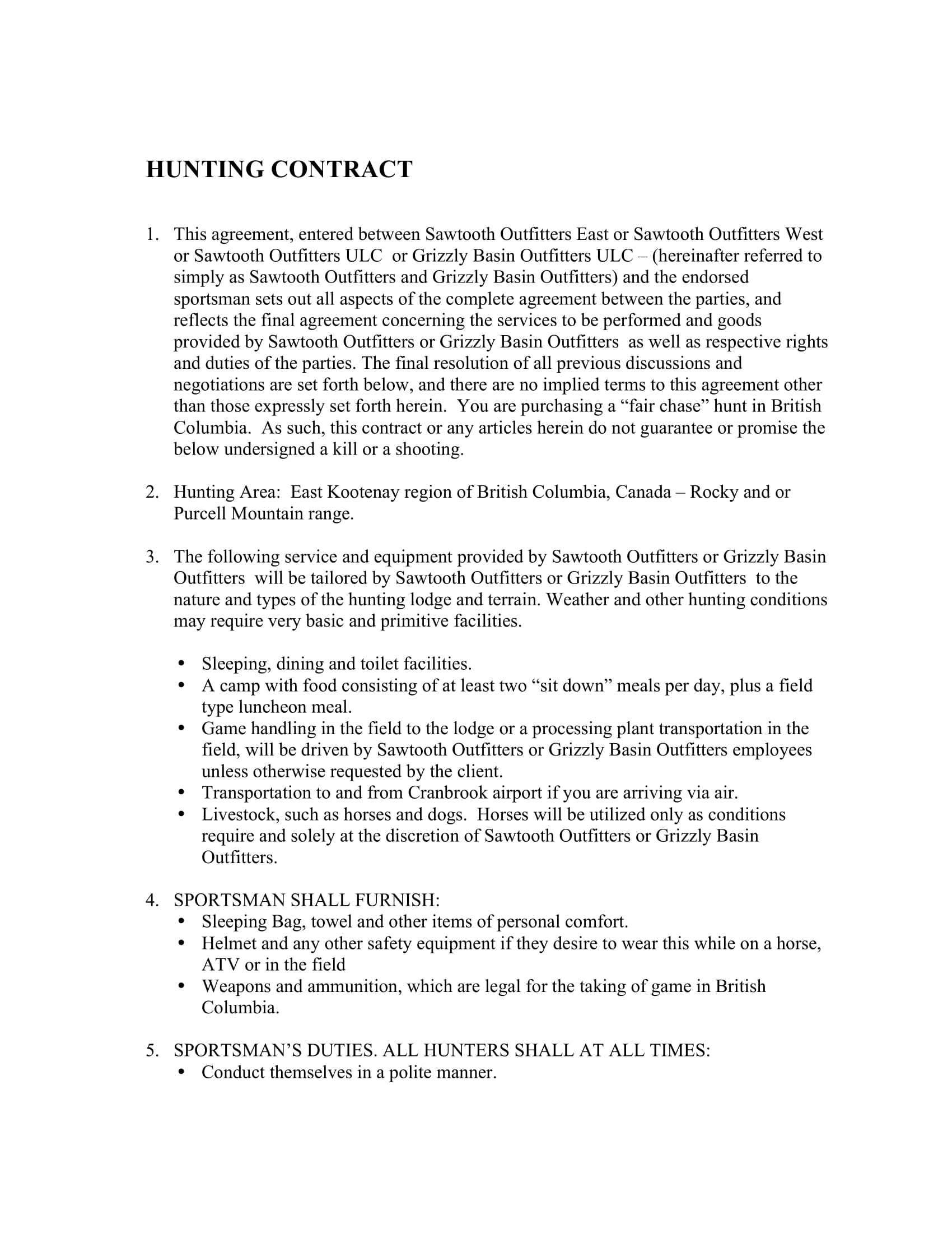 hunting contract and liability waiver form 2