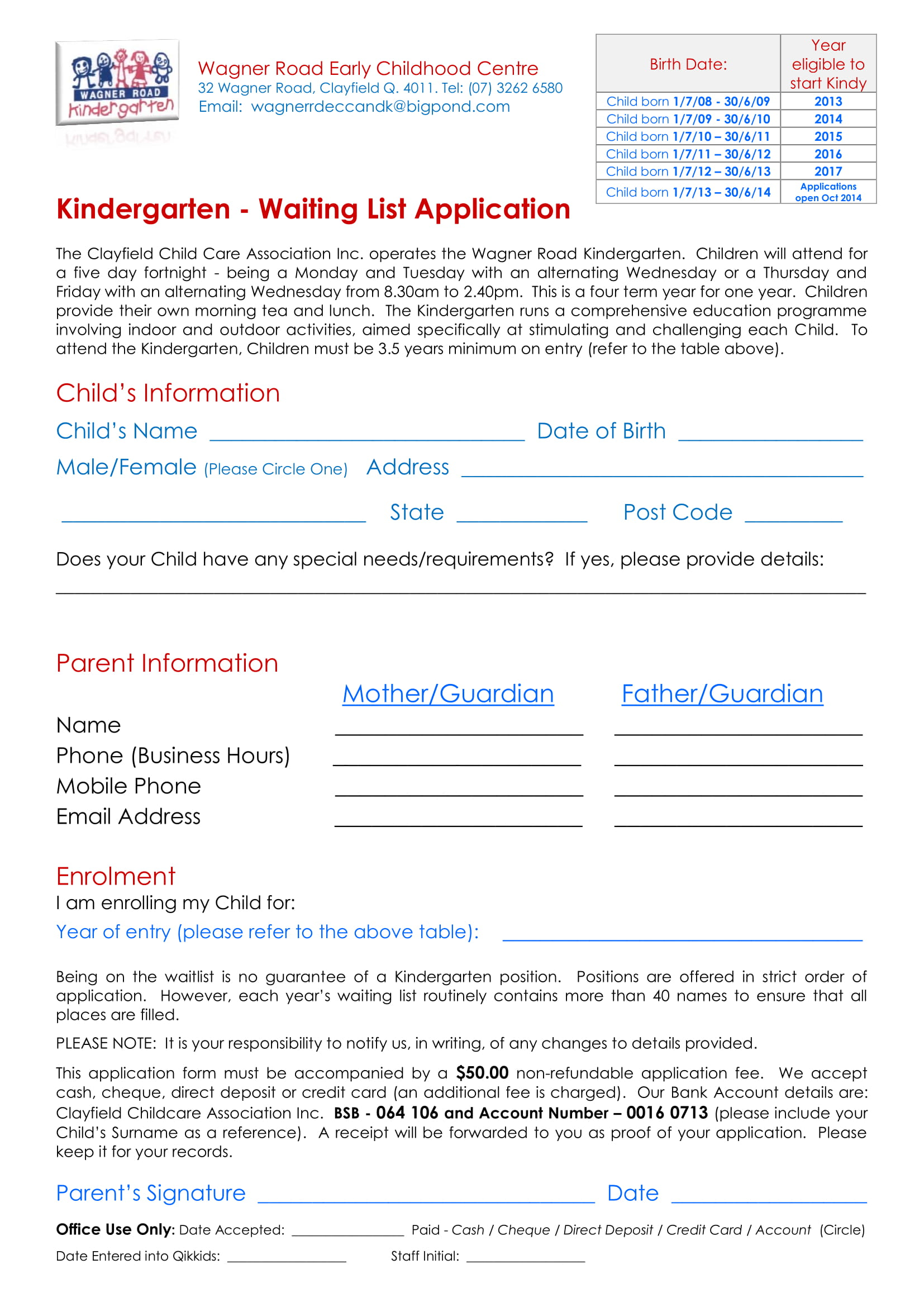 kindergarten waiting list application form 11