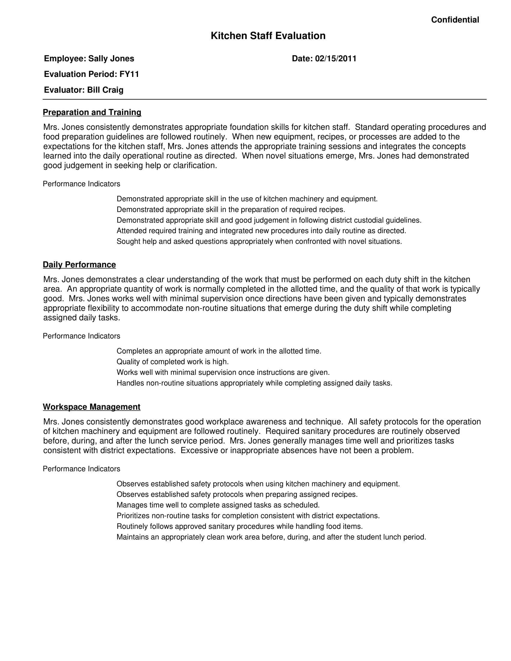 kitchen staff evaluation sample template 1