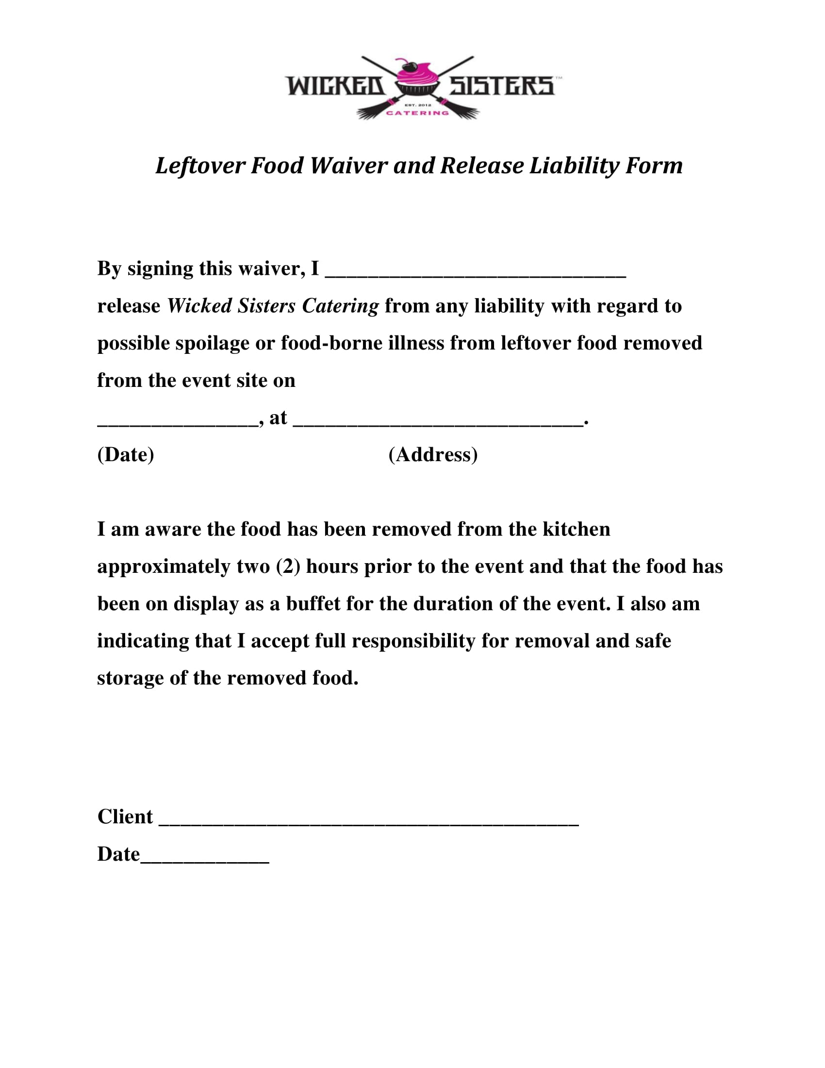 leftover food waiver form 1