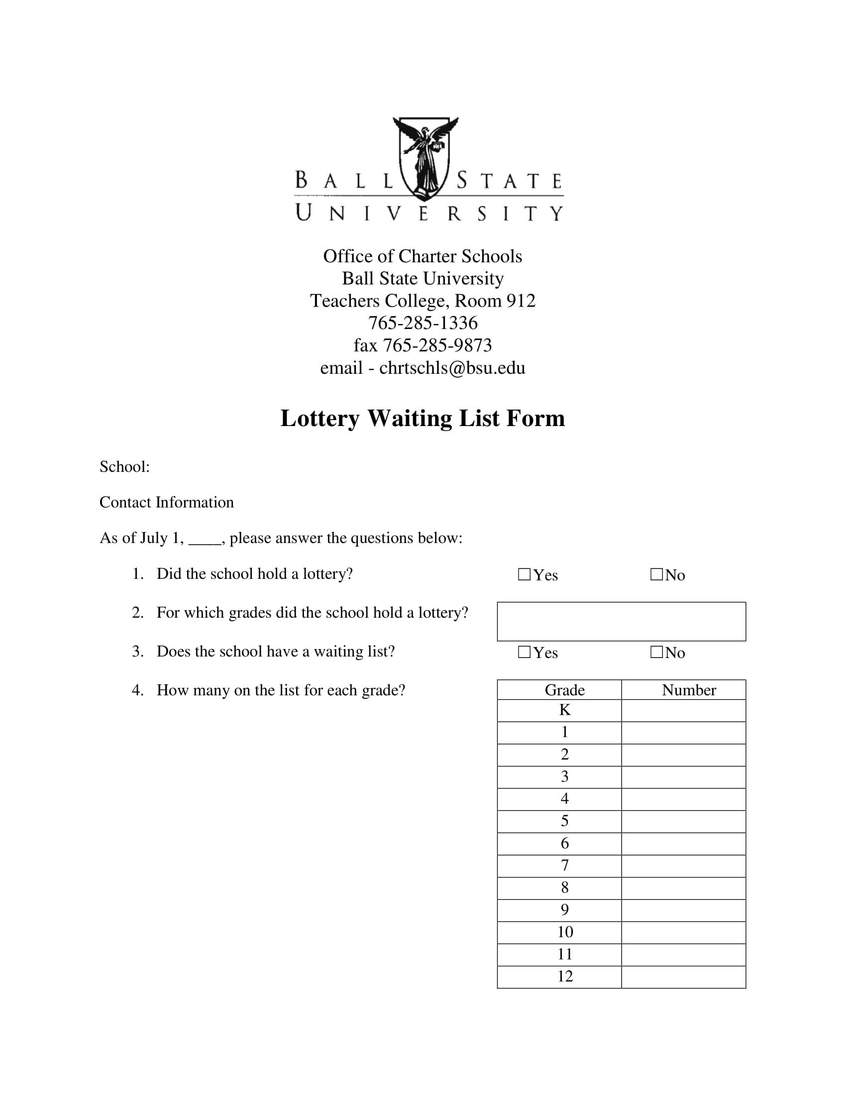lottery waiting list form 11