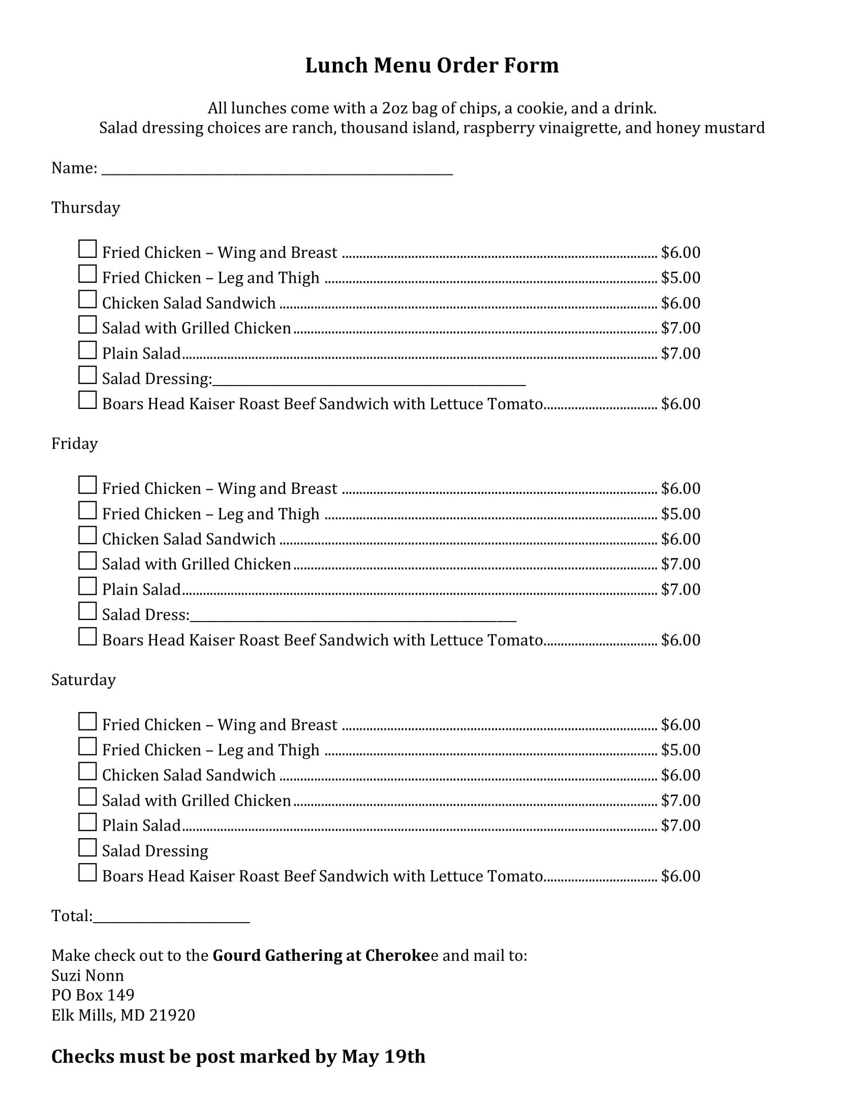 lunch menu order form 1