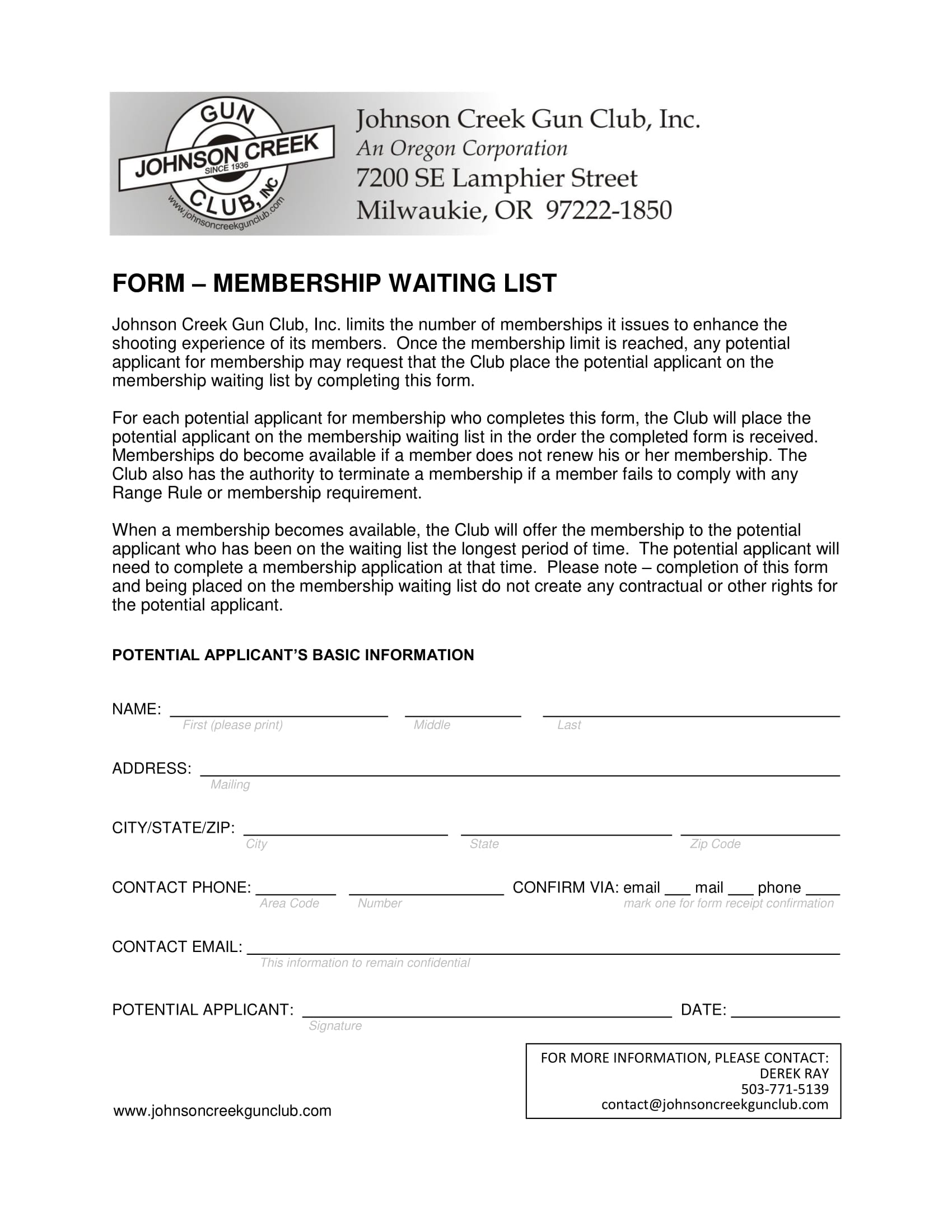 membership waiting list form 1