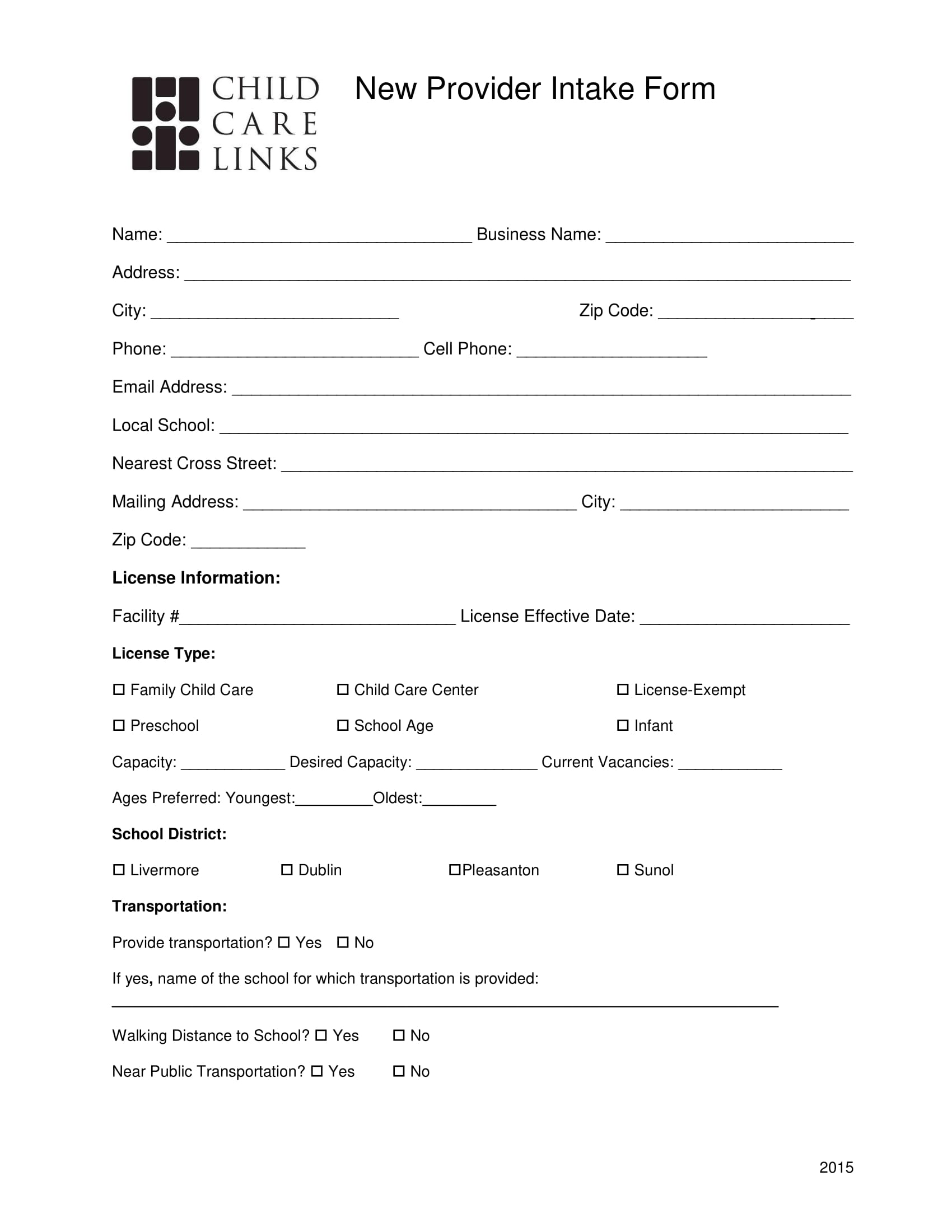 new child care provider intake form 1