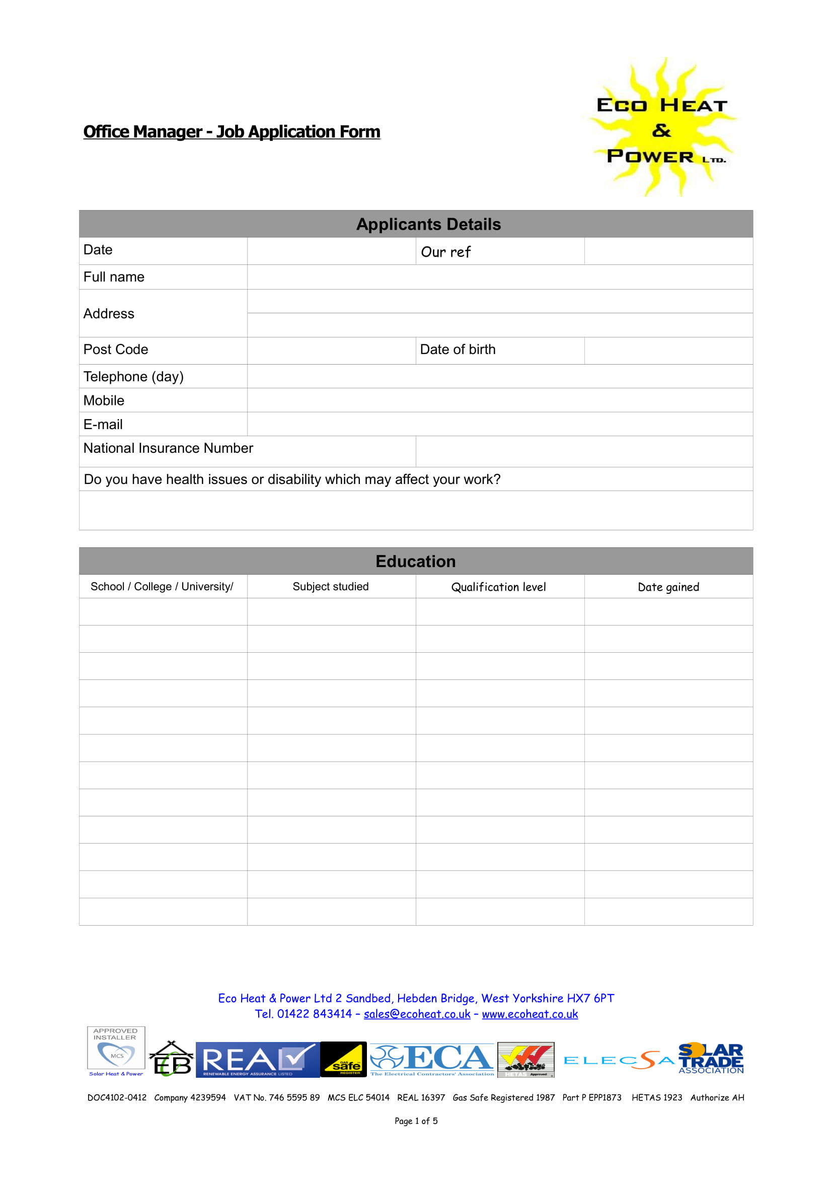 Free 8 Manager Job Application And Review Forms In Pdf