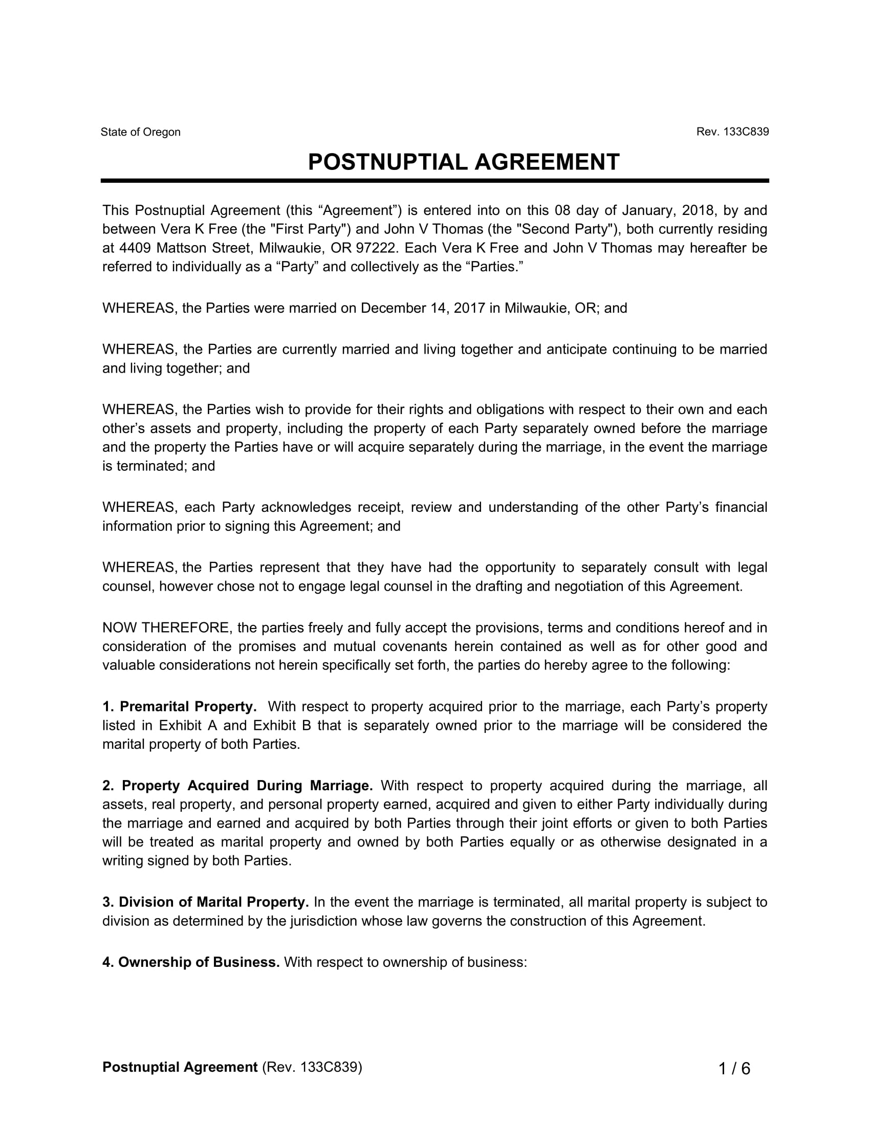 Postnuptial Agreement Form Ibovnathandedecker