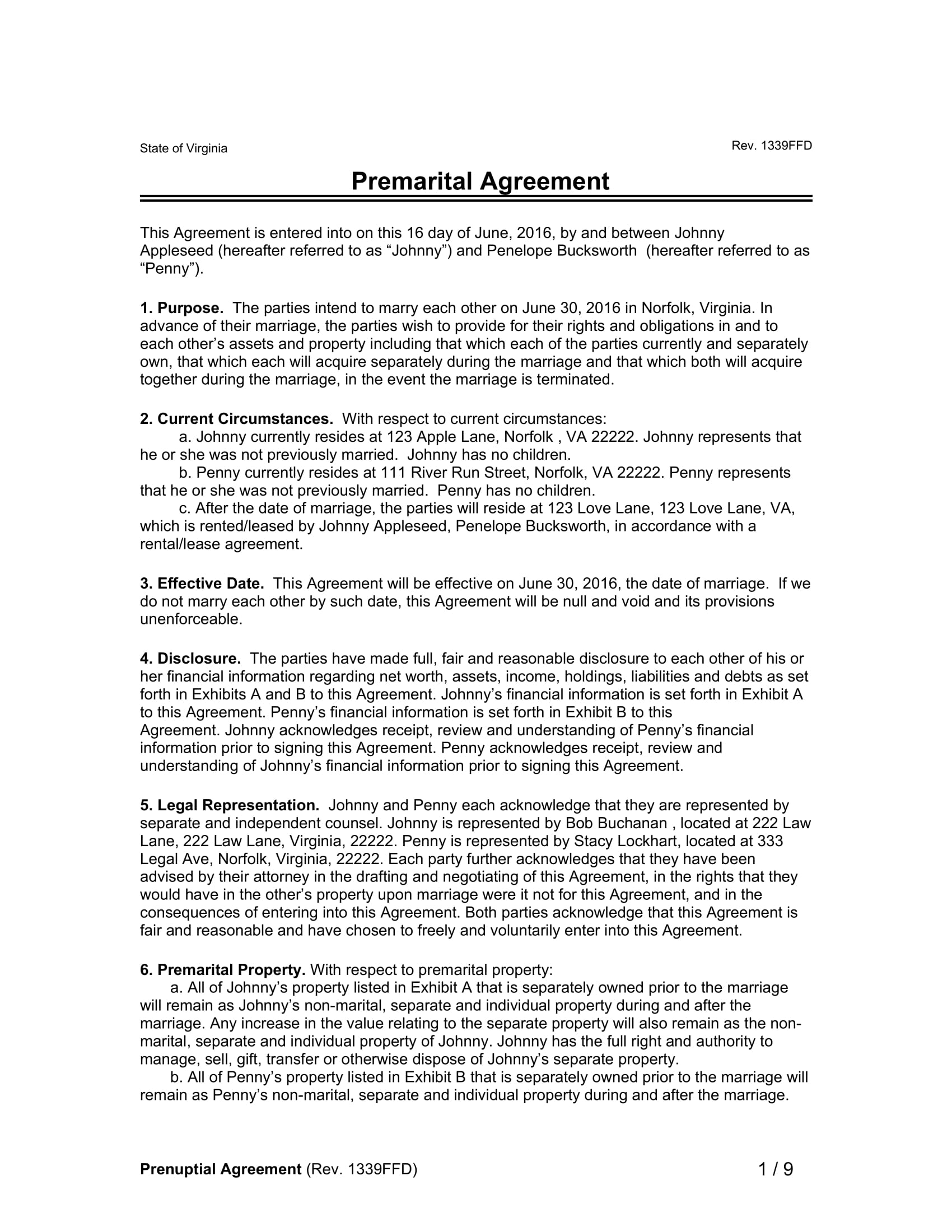 premarital agreement contract form 1