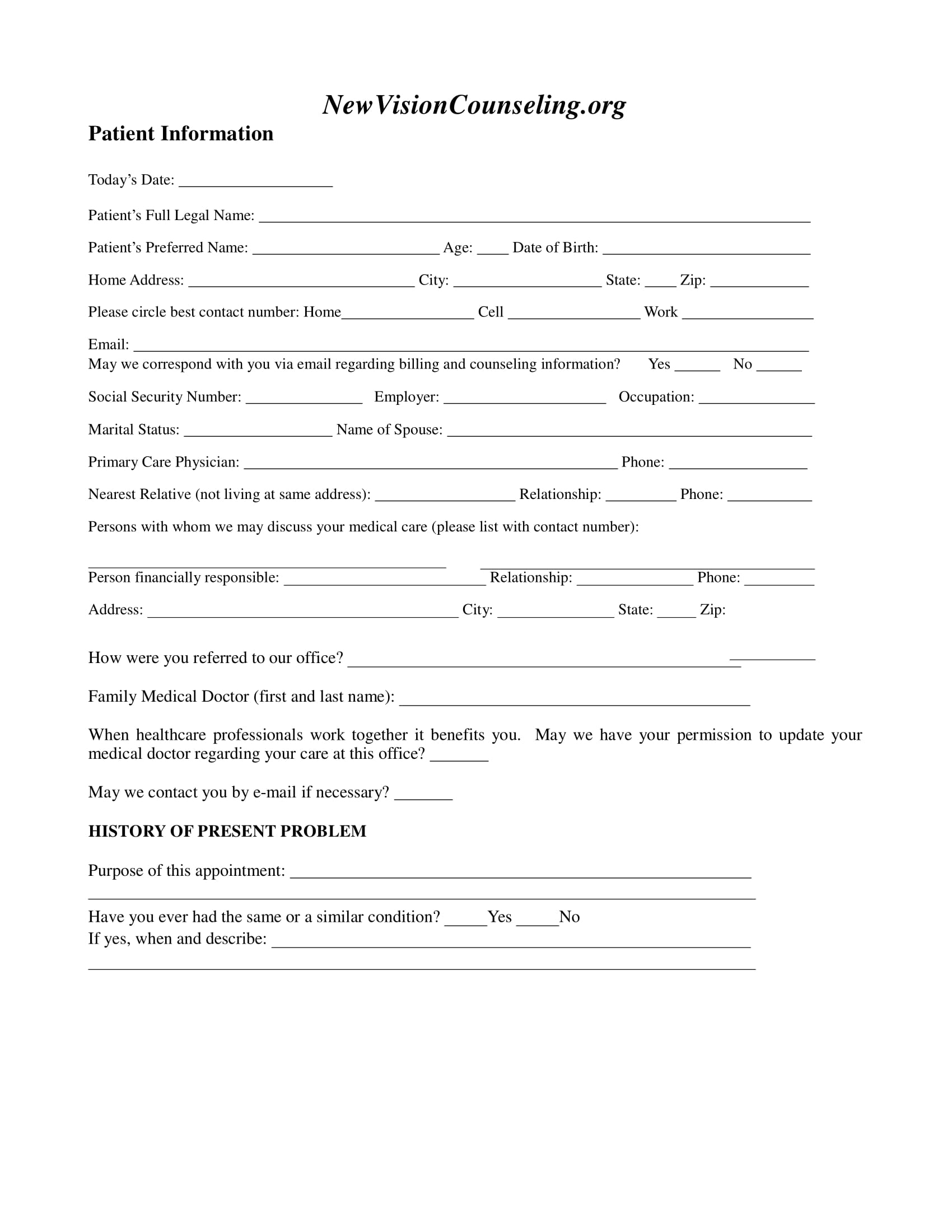 psychotherapy counseling intake form 03