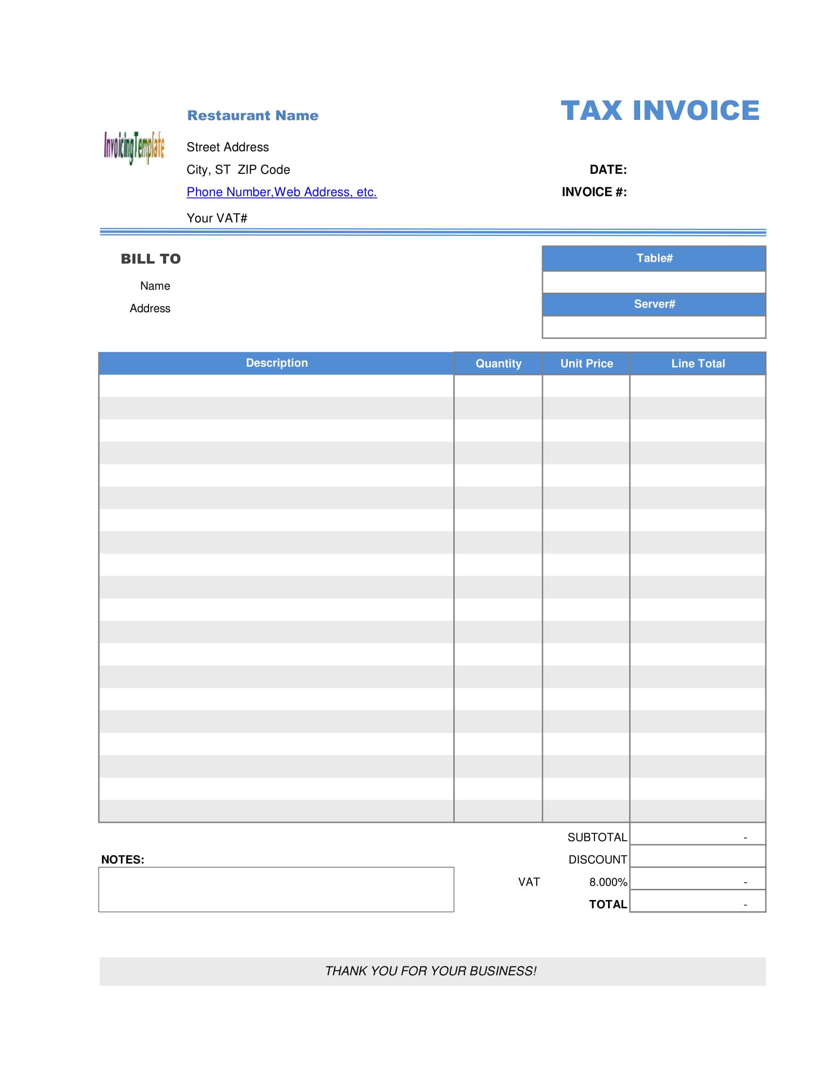 restaurant bill receipt form 2