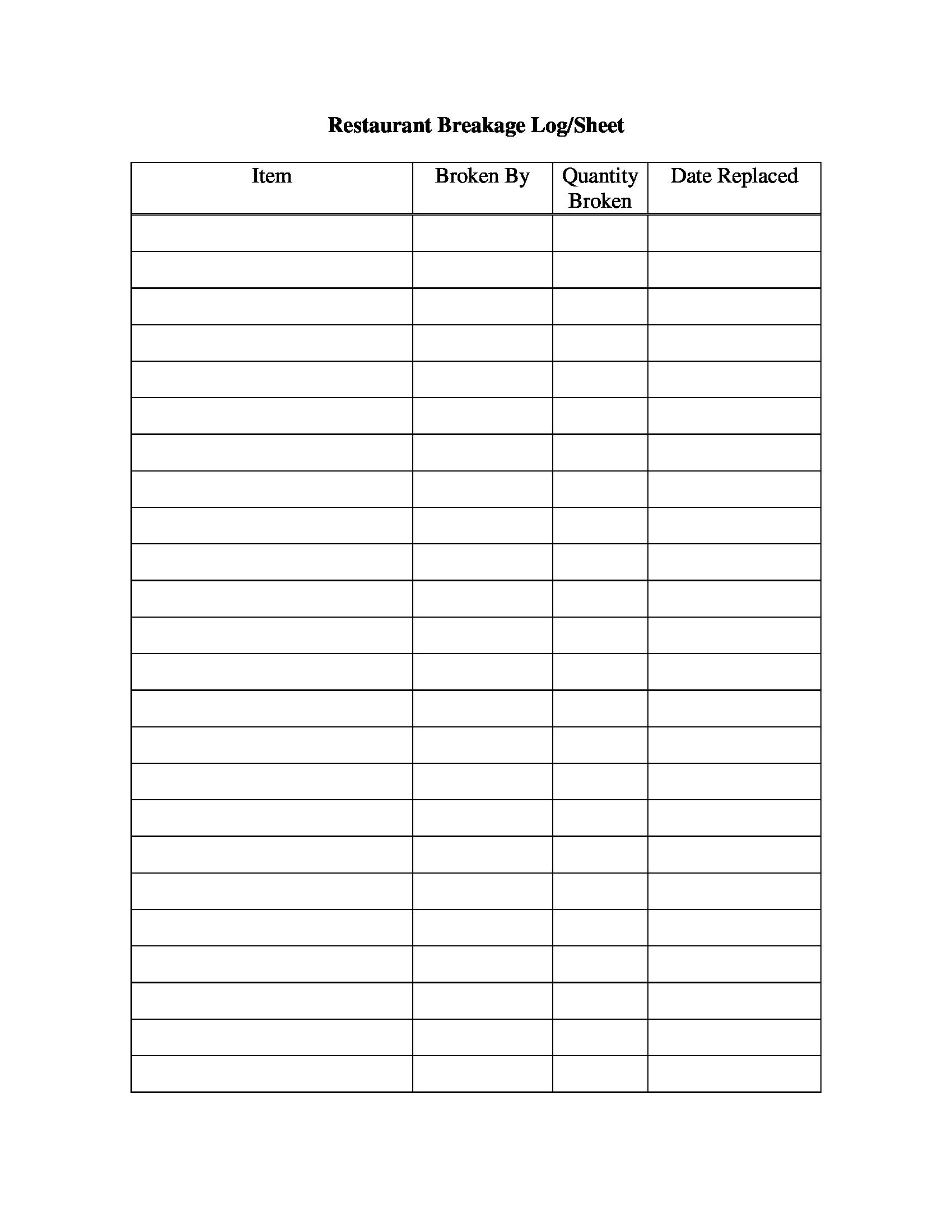 restaurant breakage log sheet 1
