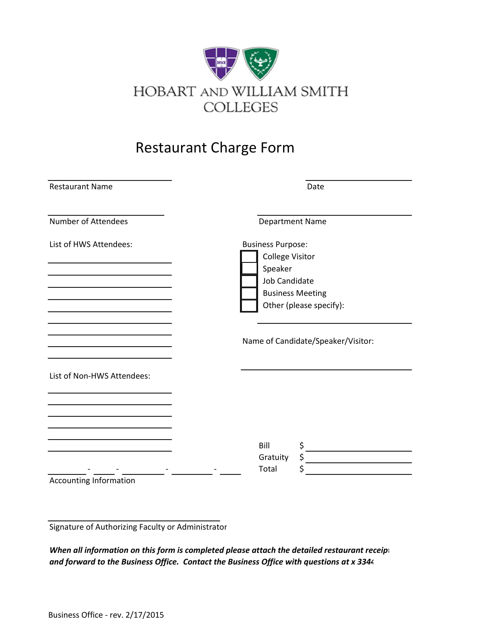 restaurant charge form 1