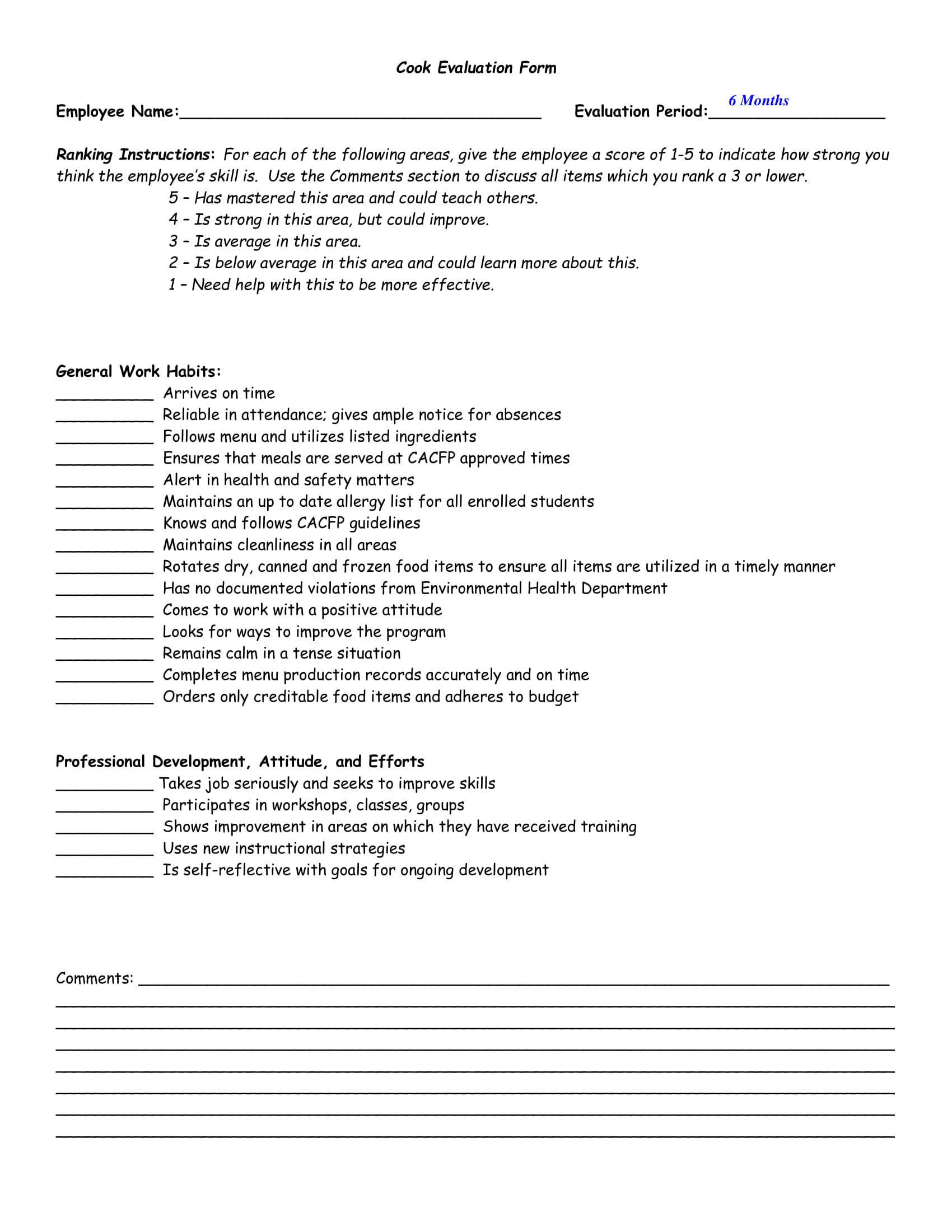 restaurant cook evaluation form 1