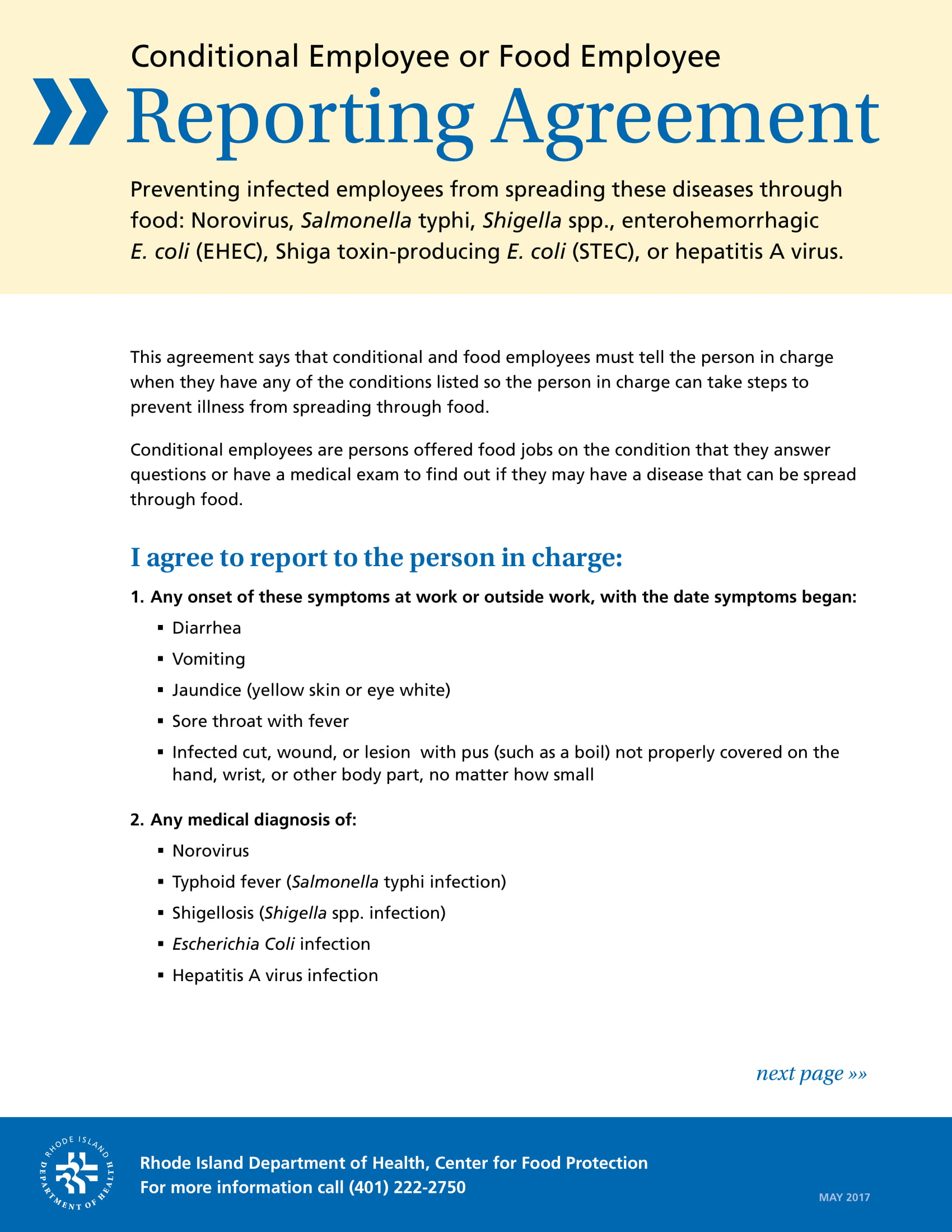 restaurant employee reporting agreement form 1