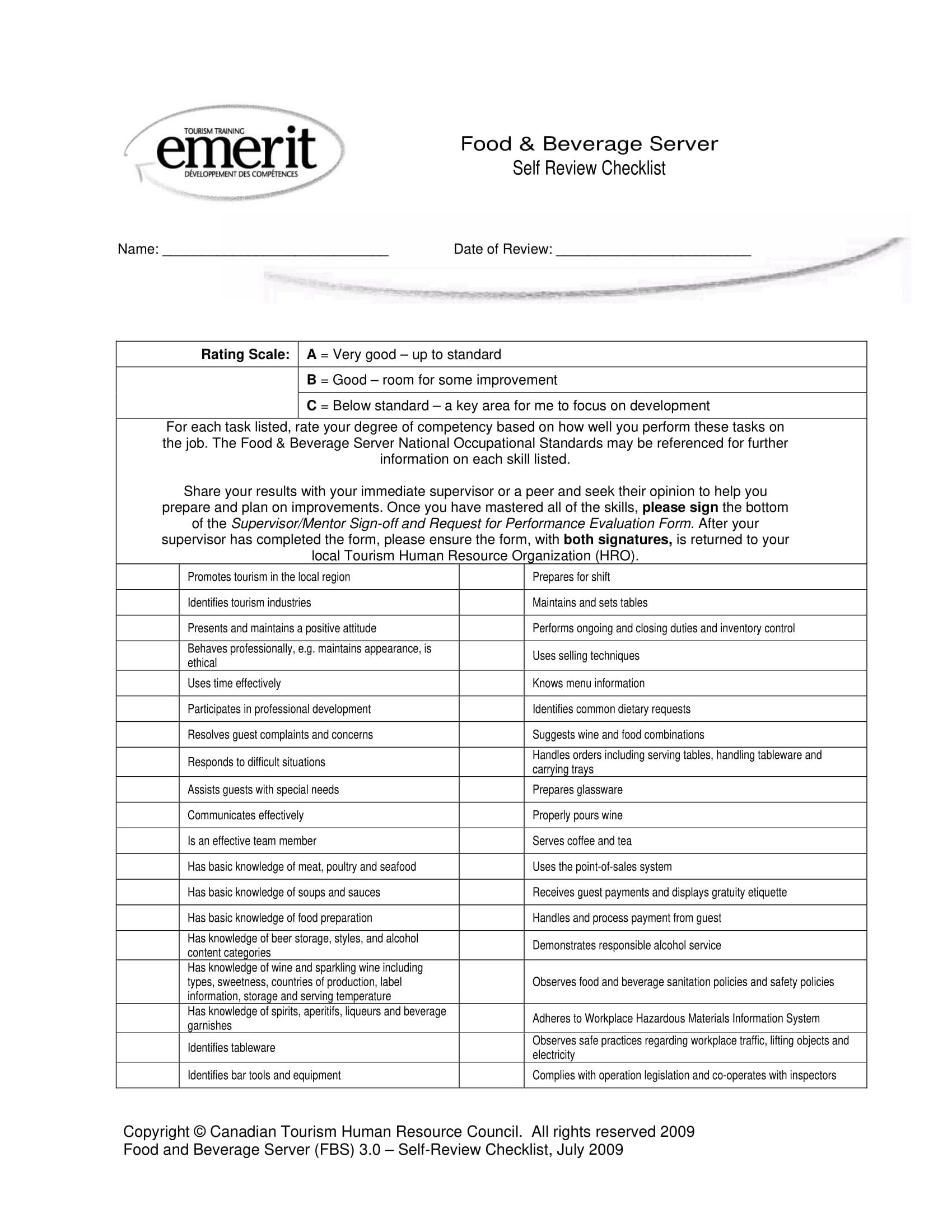 restaurant employee self assessment form 1
