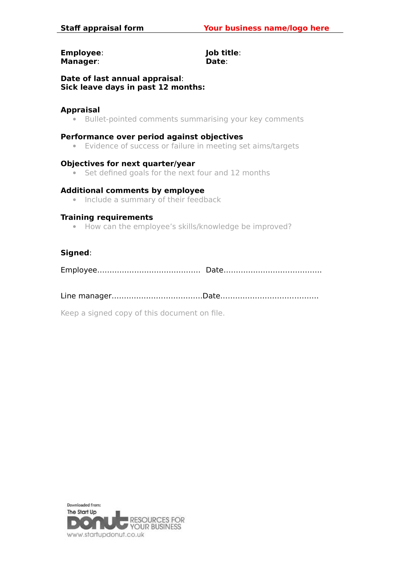 restaurant employee staff appraisal form 1