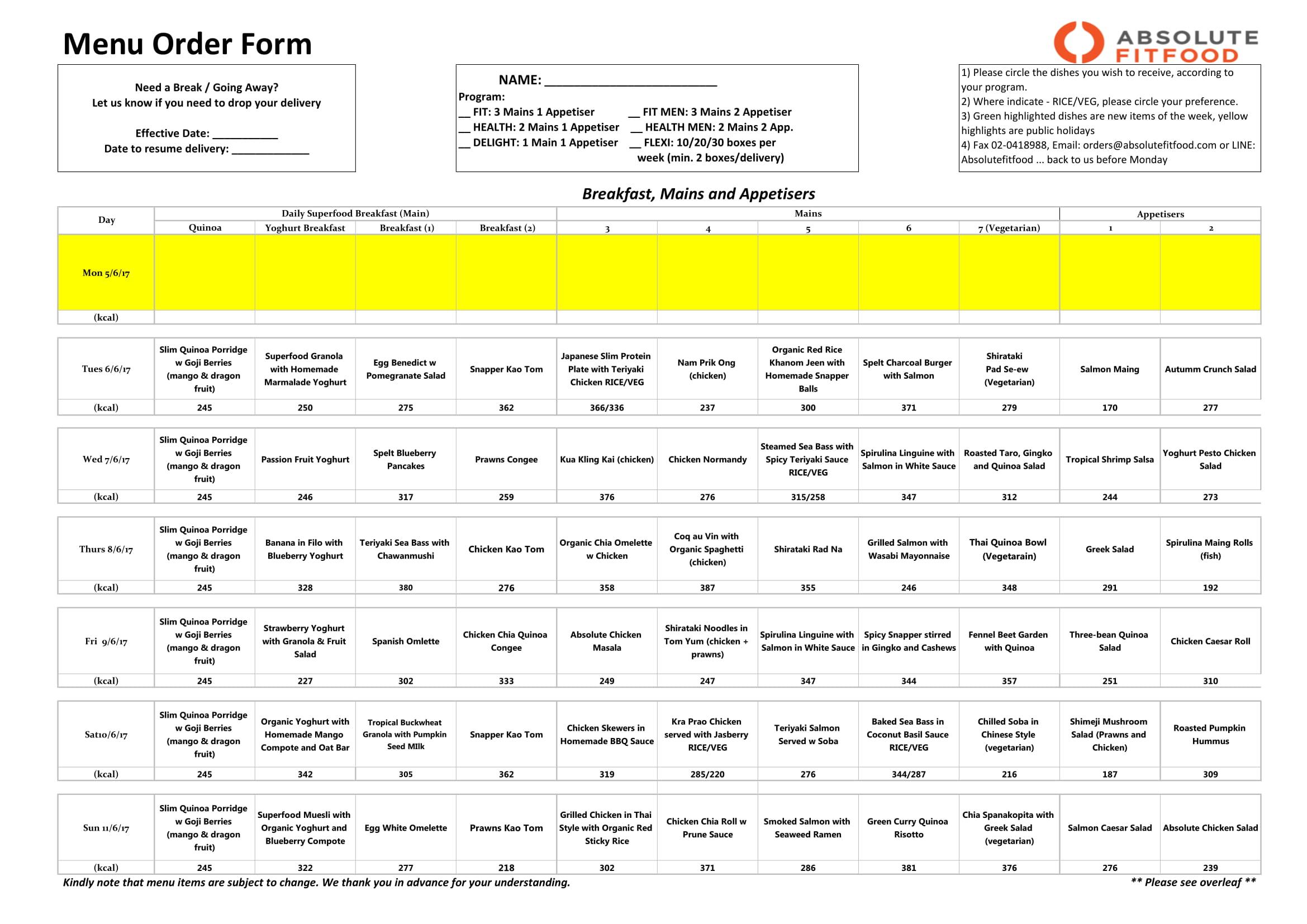 restaurant food menu order form 1