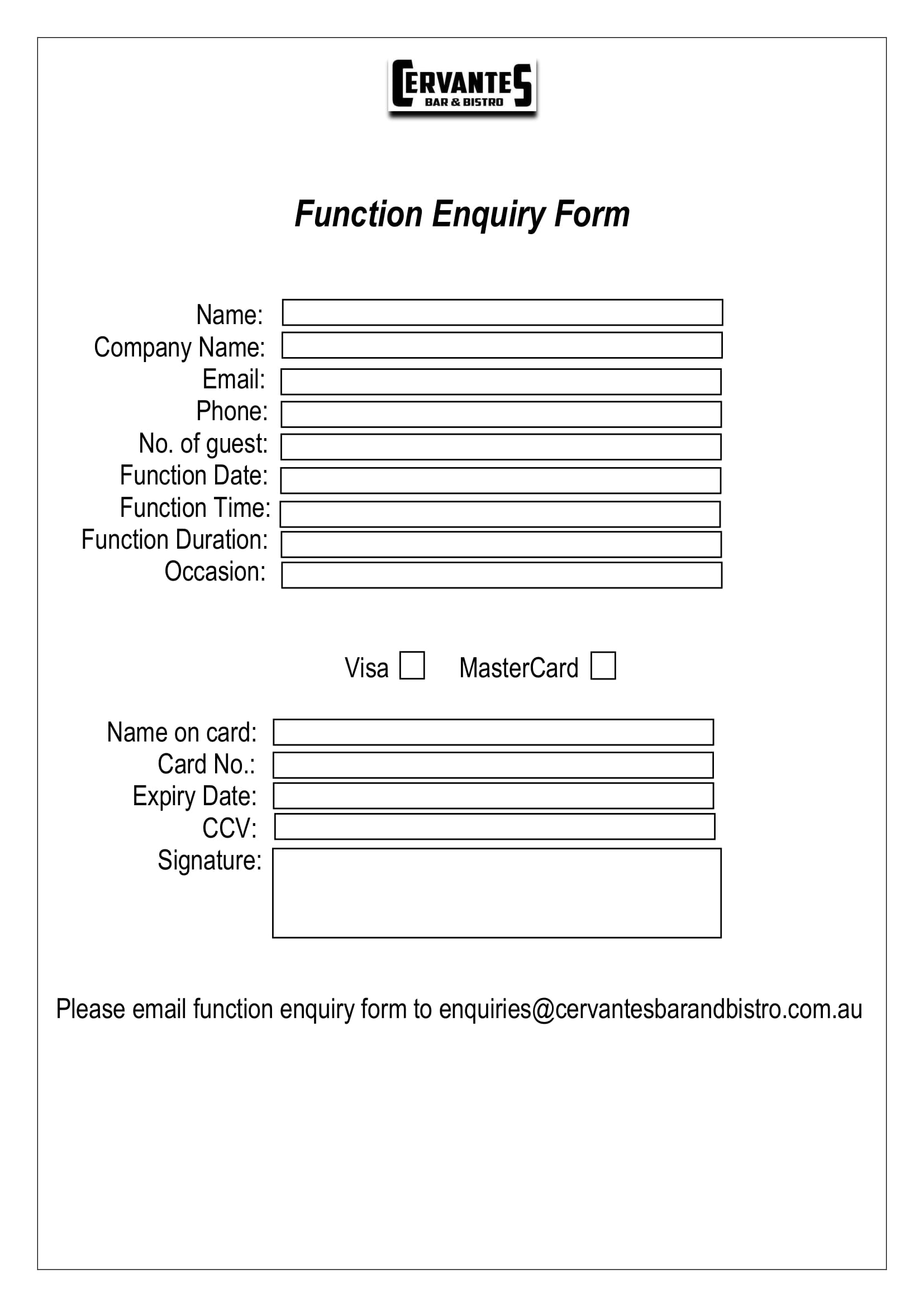 restaurant function enquiry form 2