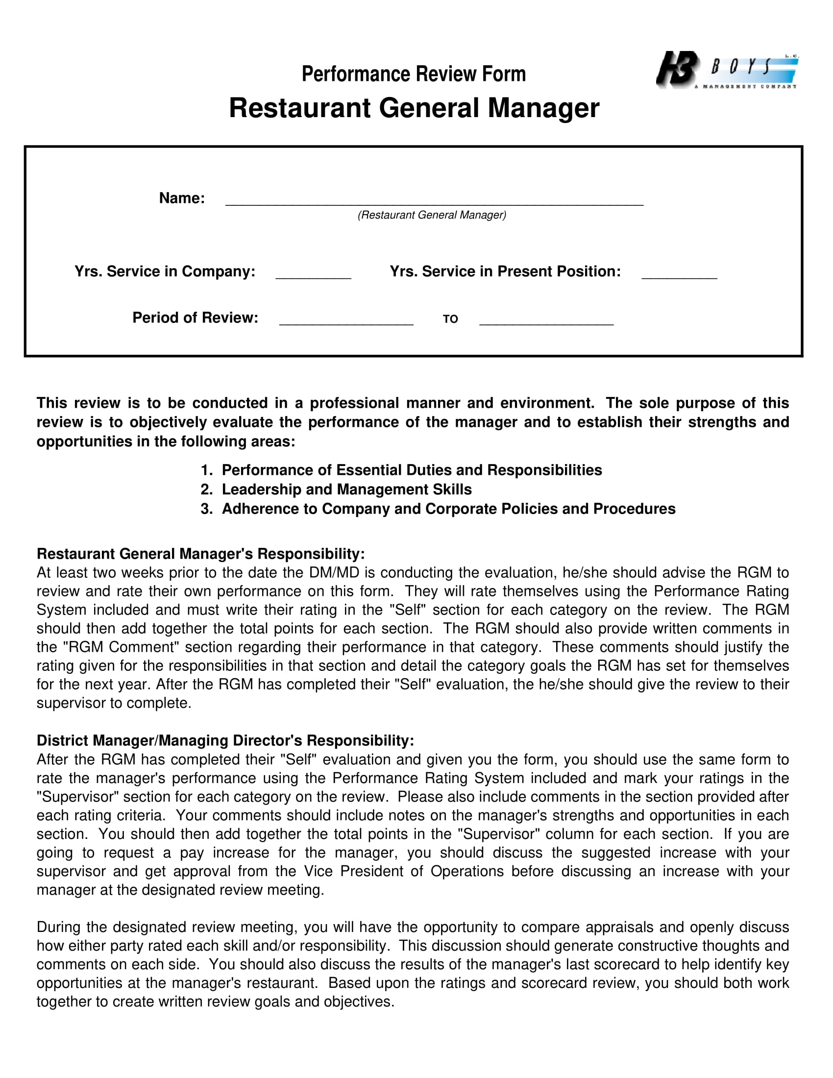 restaurant general manager performance evaluation form 1