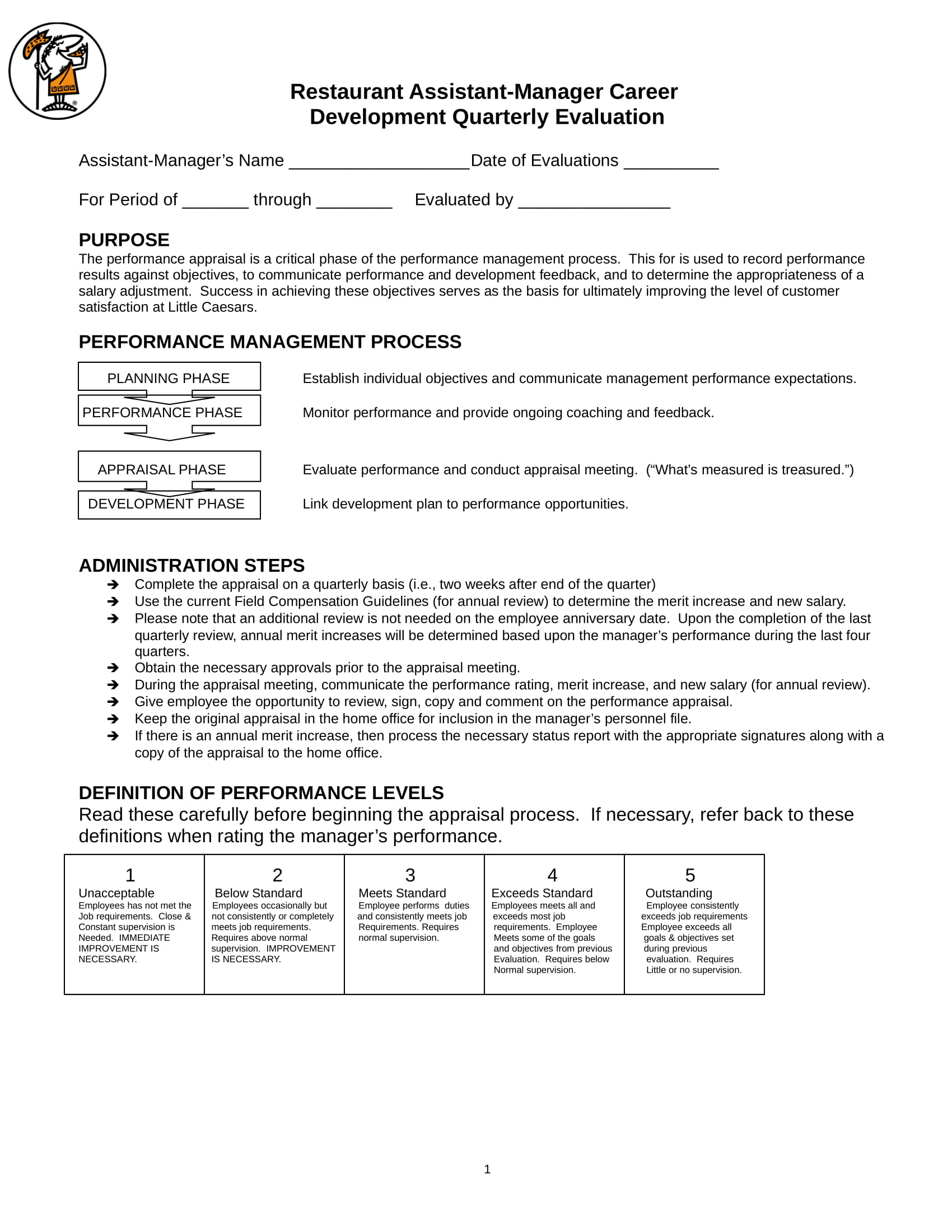 restaurant manager quarterly evaluation form 1