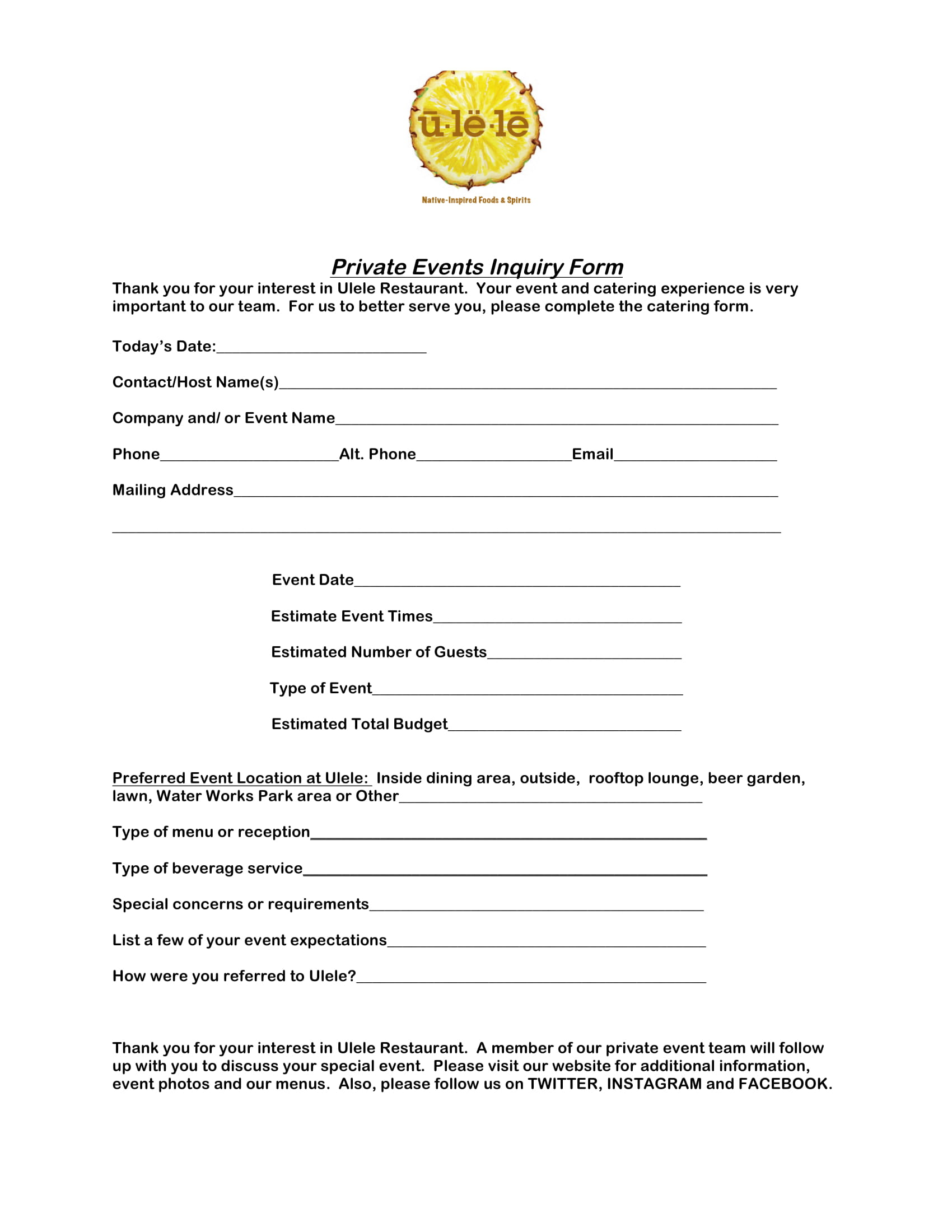 restaurant private events inquiry form 1