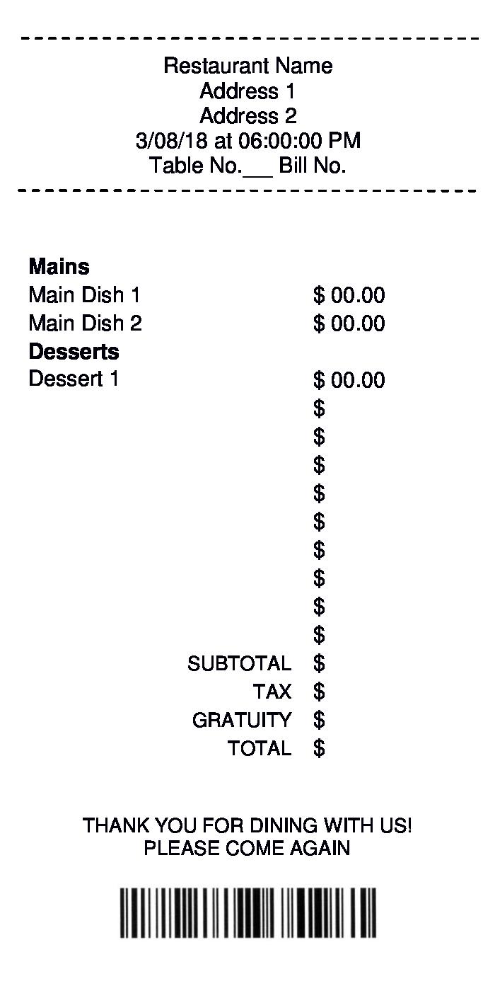 sample restaurant receipt form 1