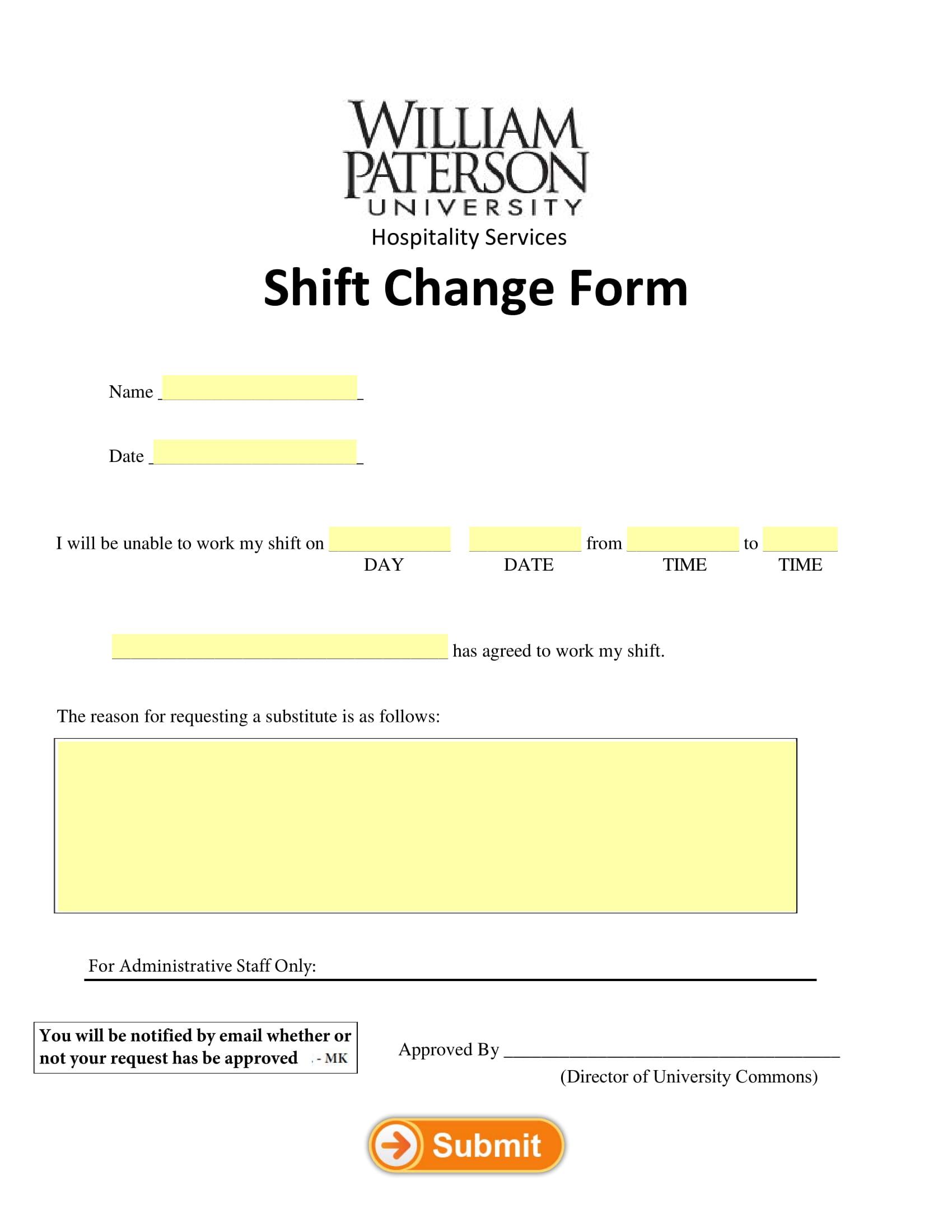 sample for shift change form 1