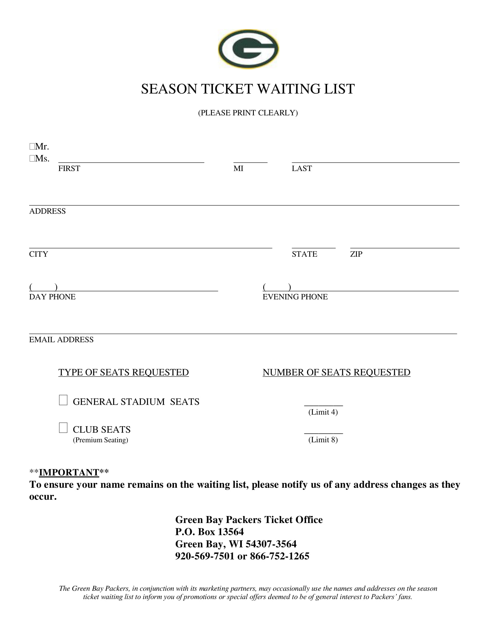 season ticket waitlist form 1