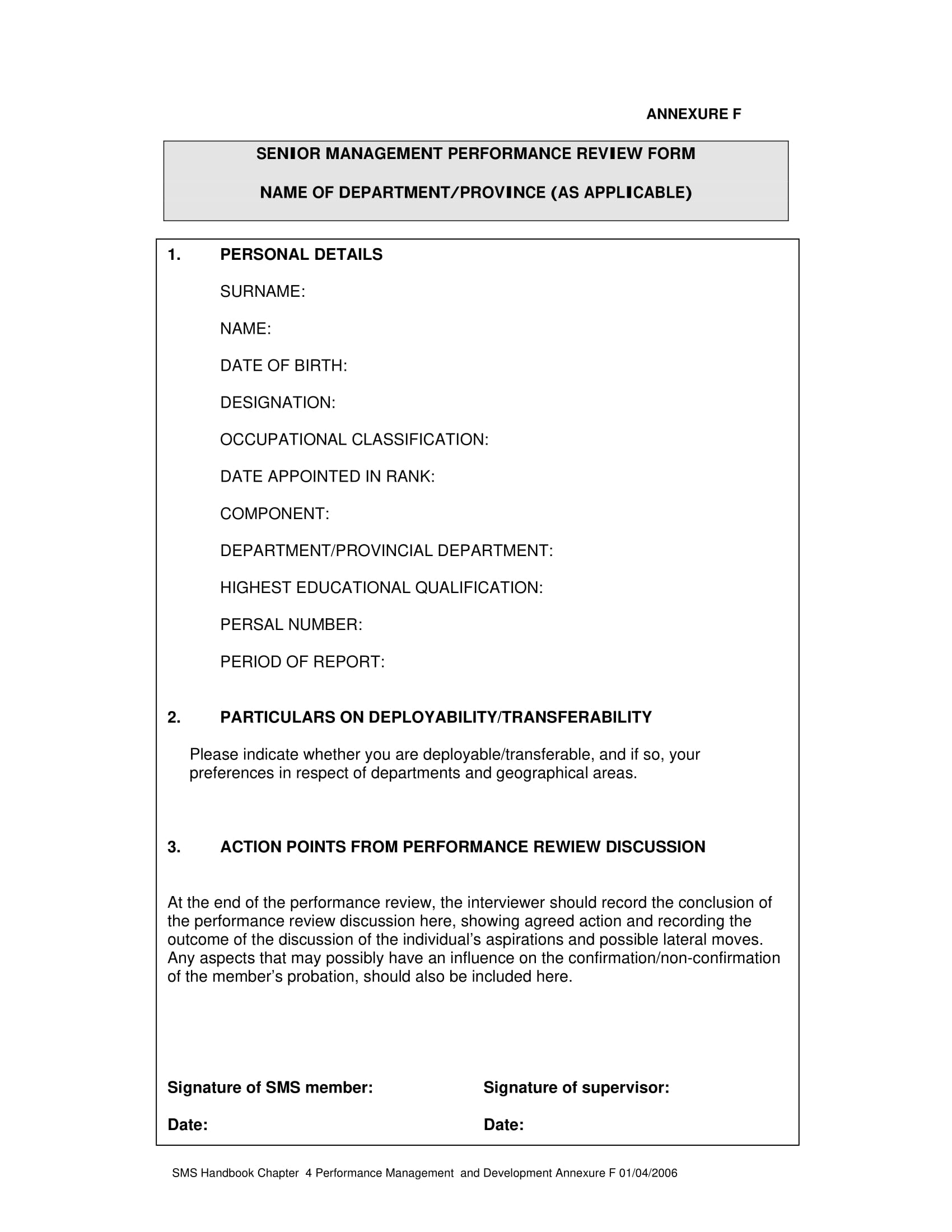 senior management performance review form 1