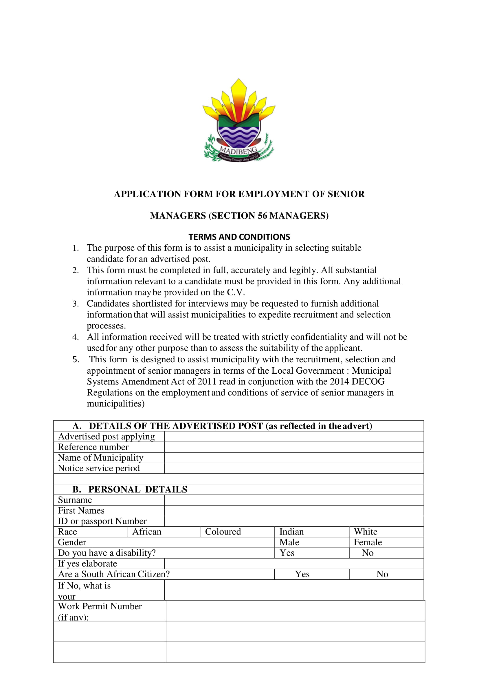 senior manager employment application form 1