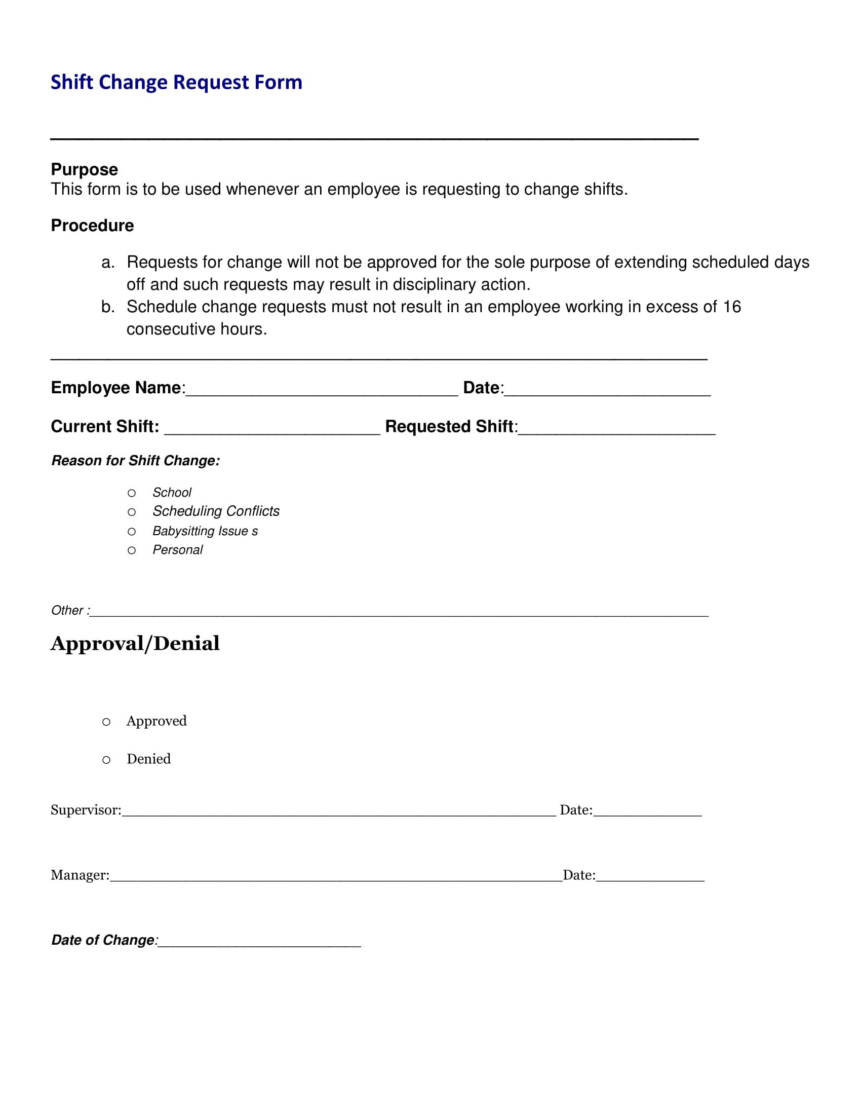shift change request form 1