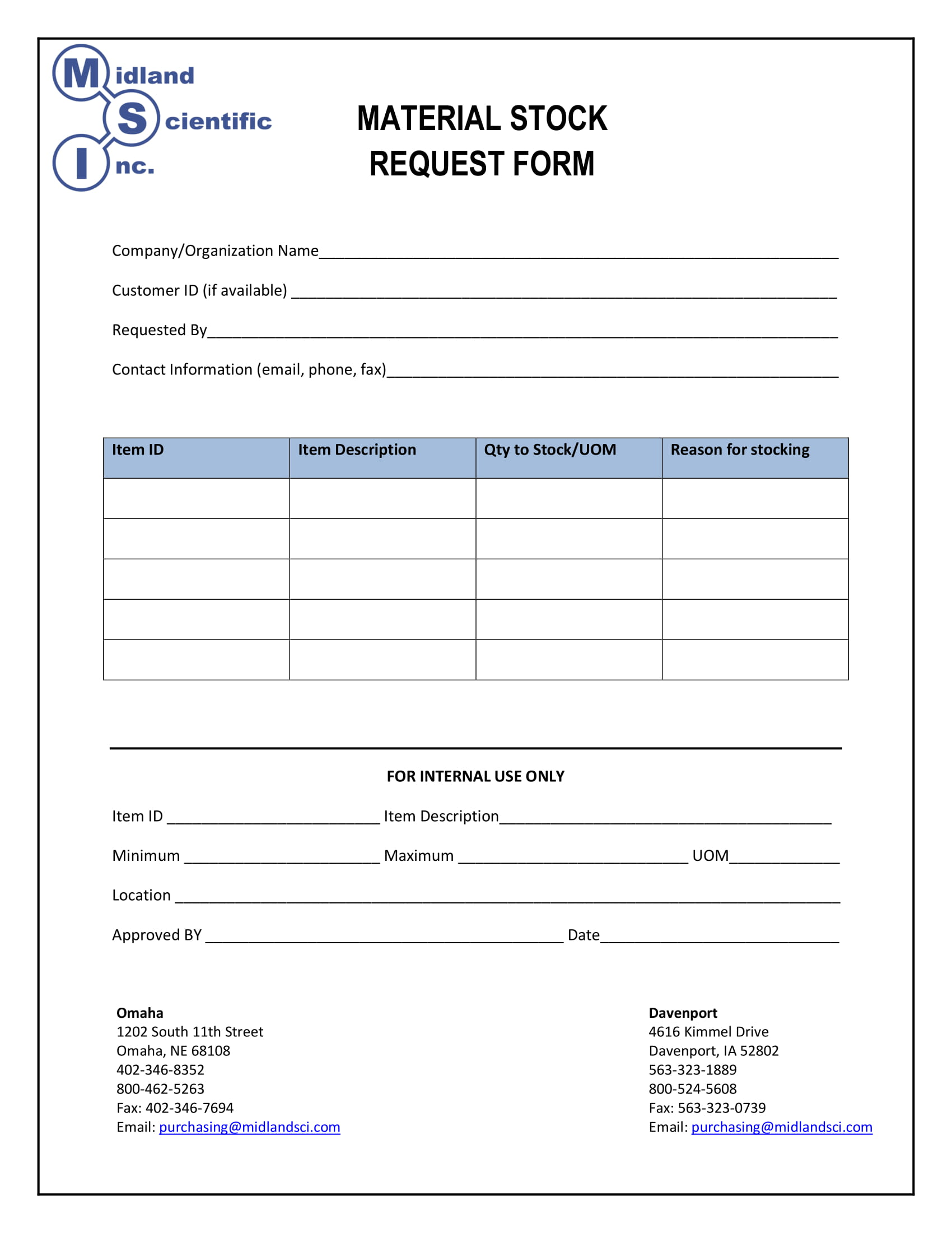Material request form design templates for Stock request form template