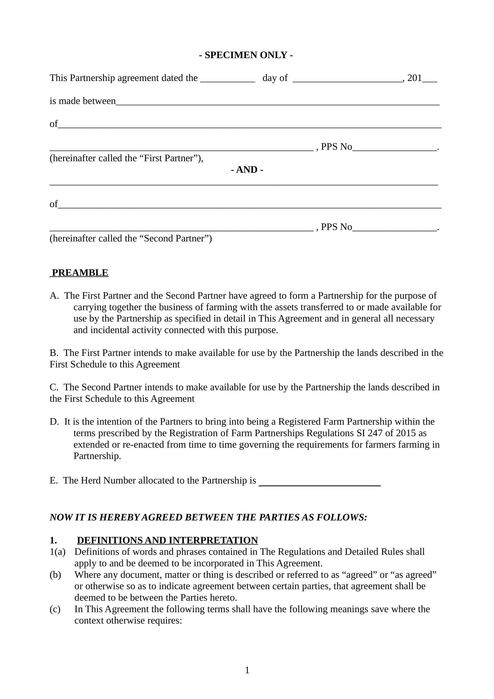 specimen farm partnership agreement contract form 02