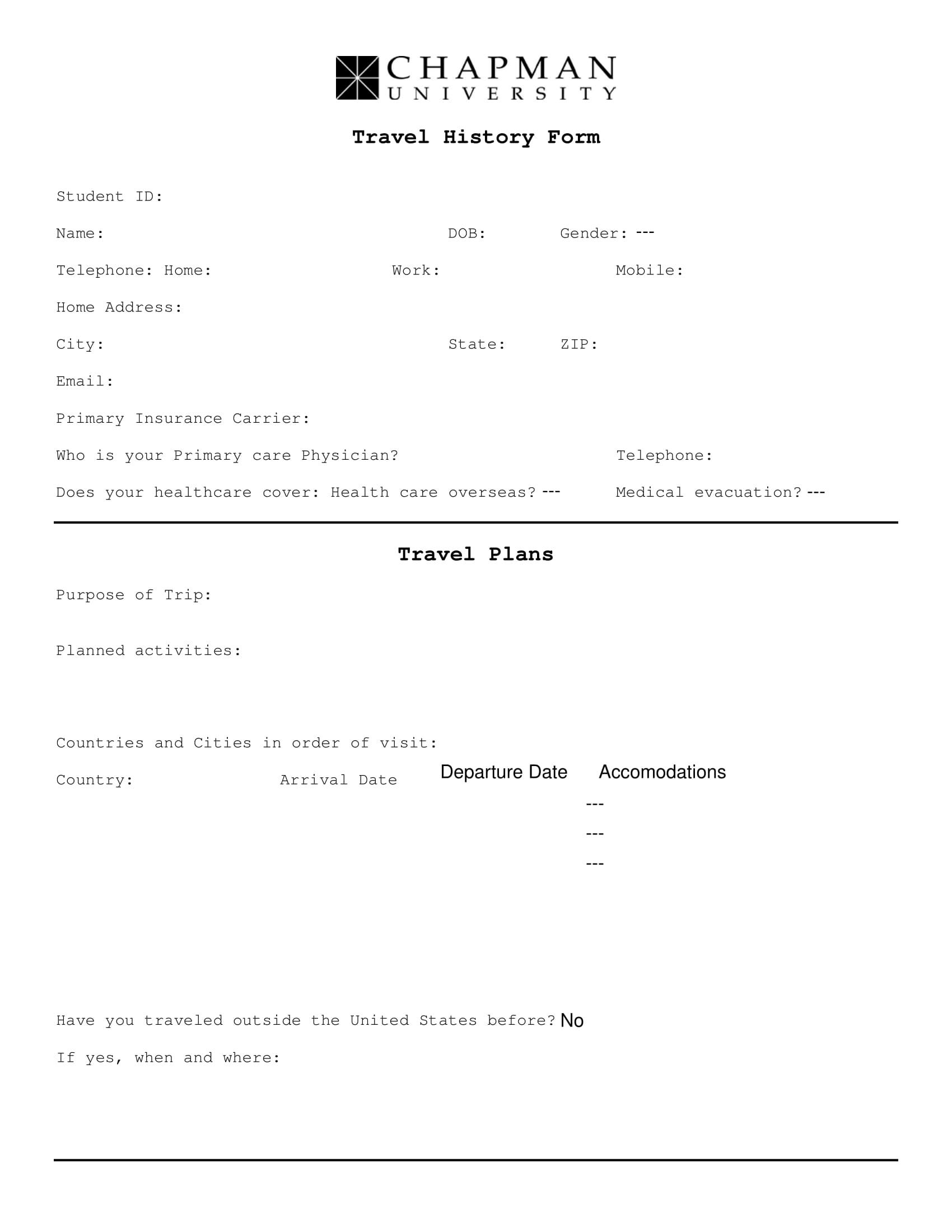 student travel history form 1