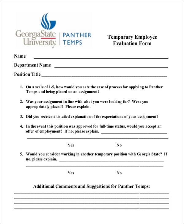 temporary employee evaluation form
