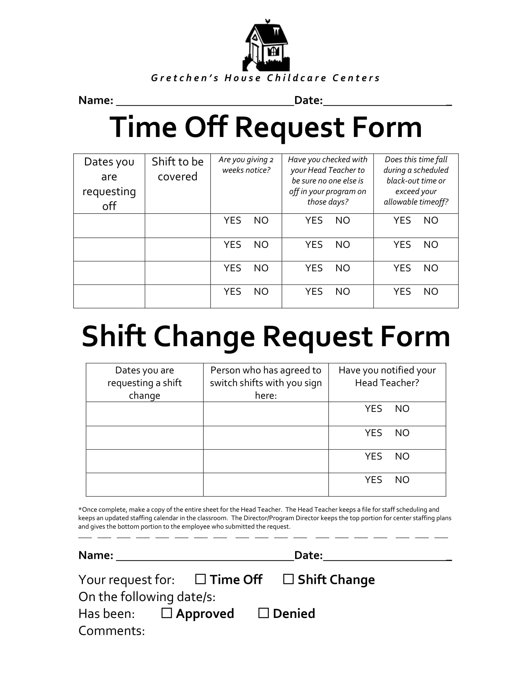 time off and shift change request form 1