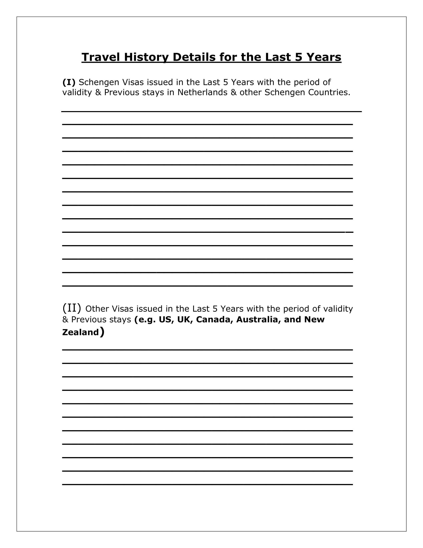 travel history form details 1
