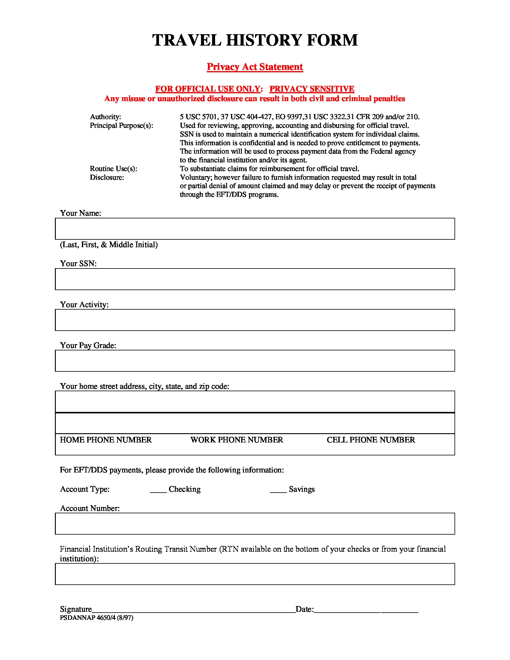 travel history form in doc