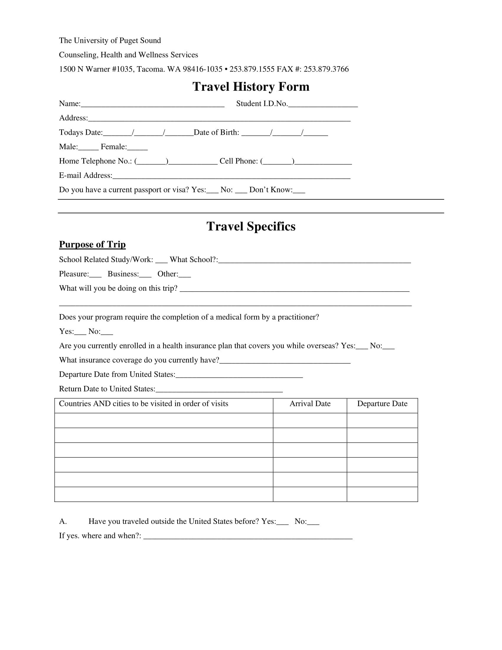 travel medical history form 1