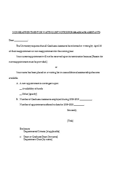 waiting list notice form