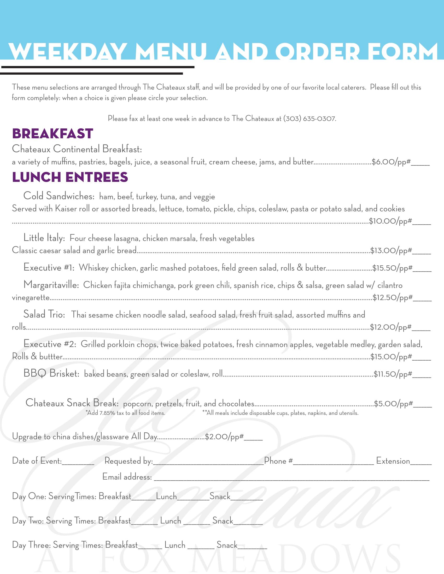 weekday menu and order form 1