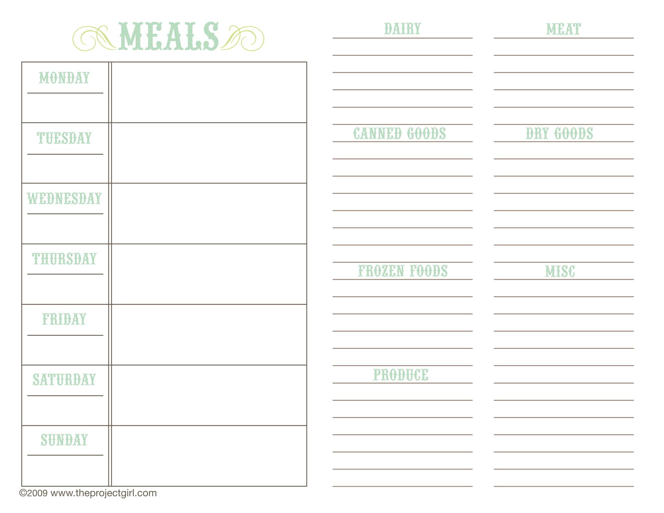 weekly menu planner form 1