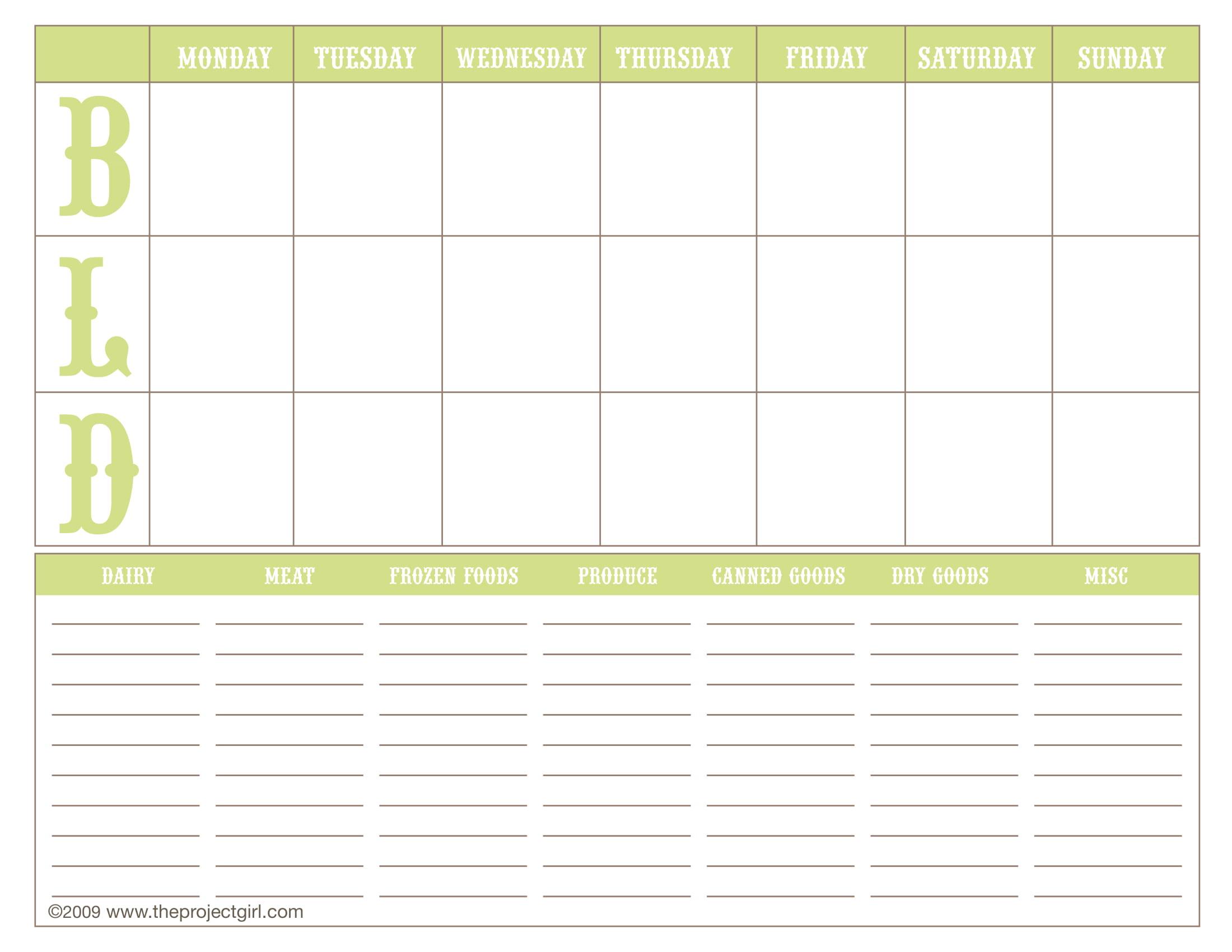 weekly menu planning form 1