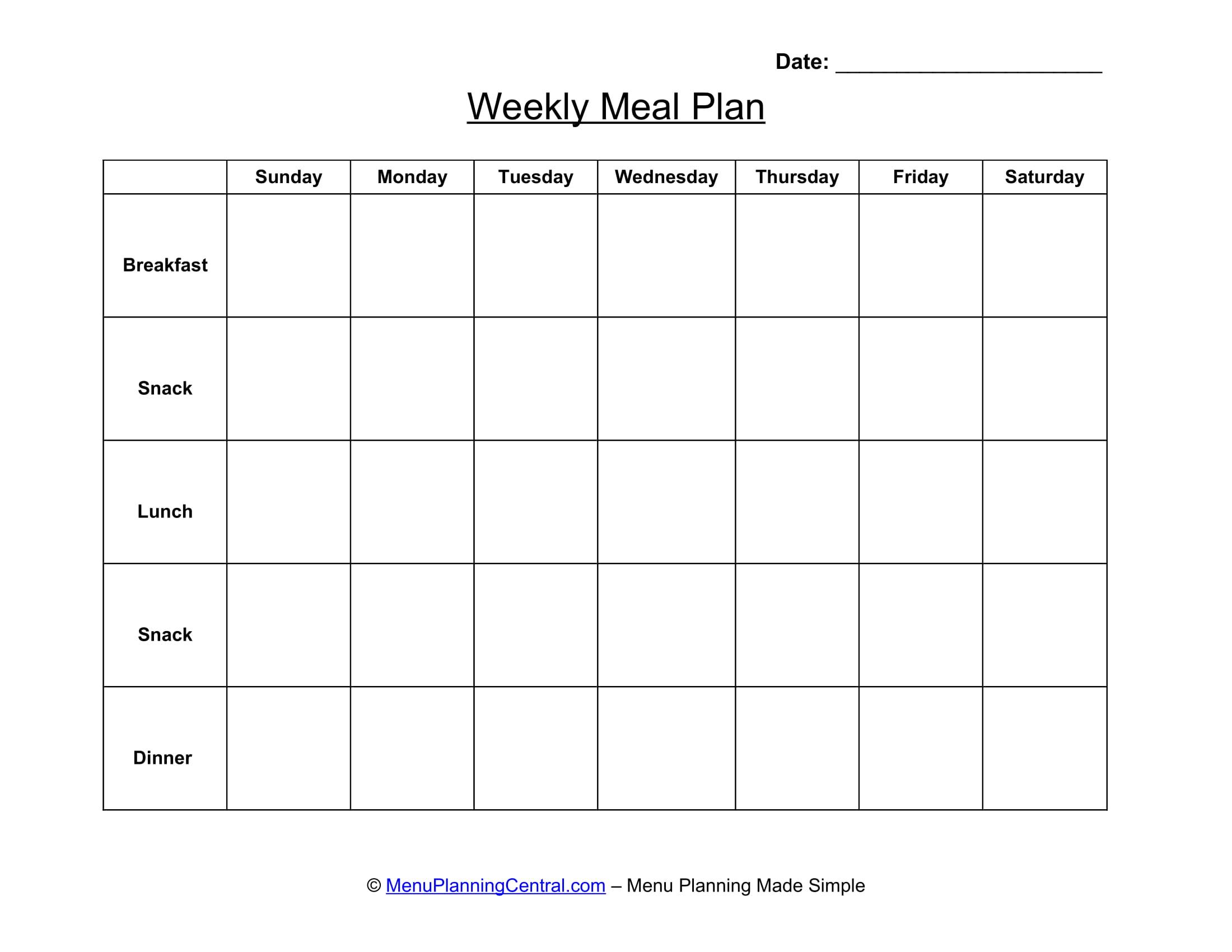 weekly menu for meals 1