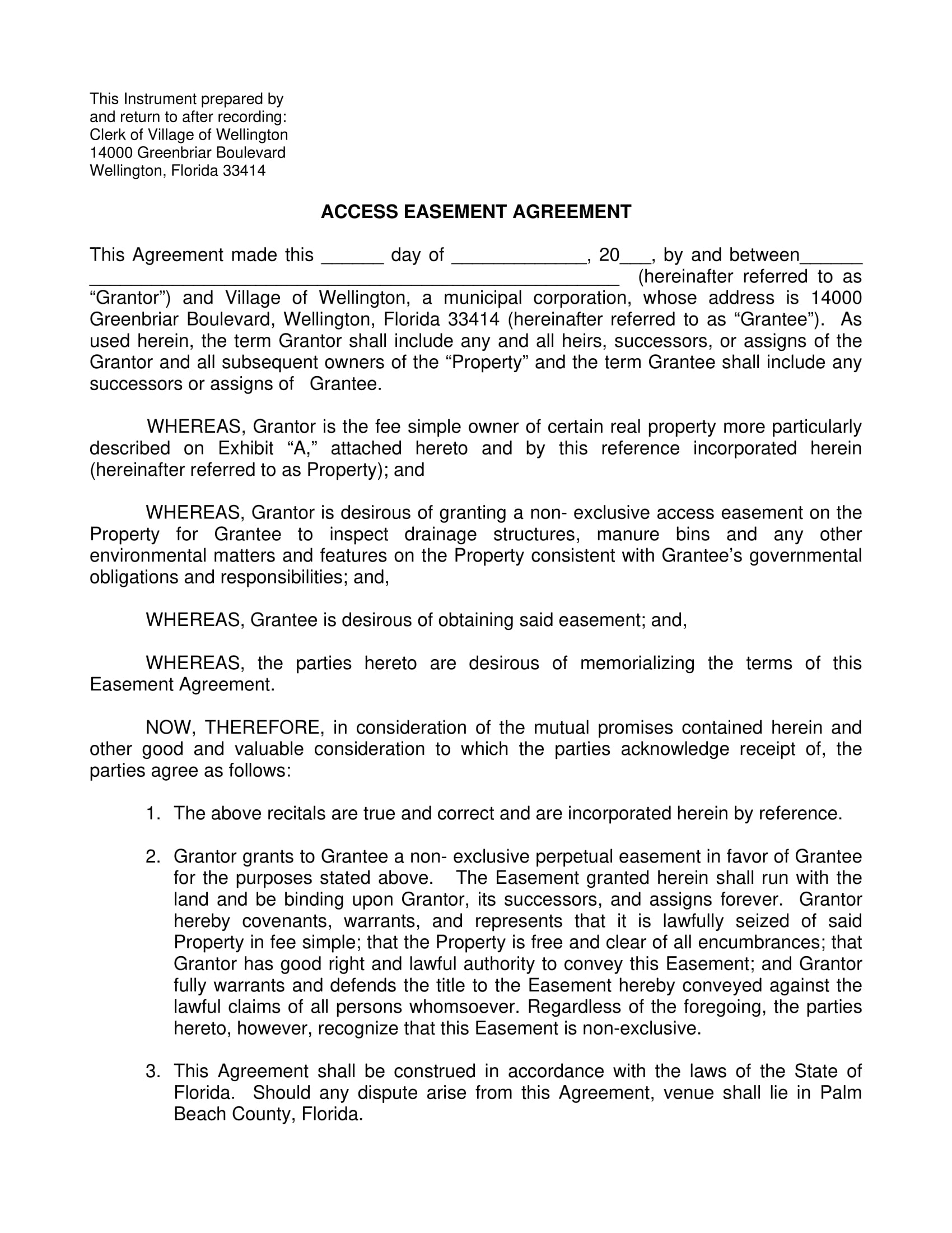 access easement agreement contract form 1
