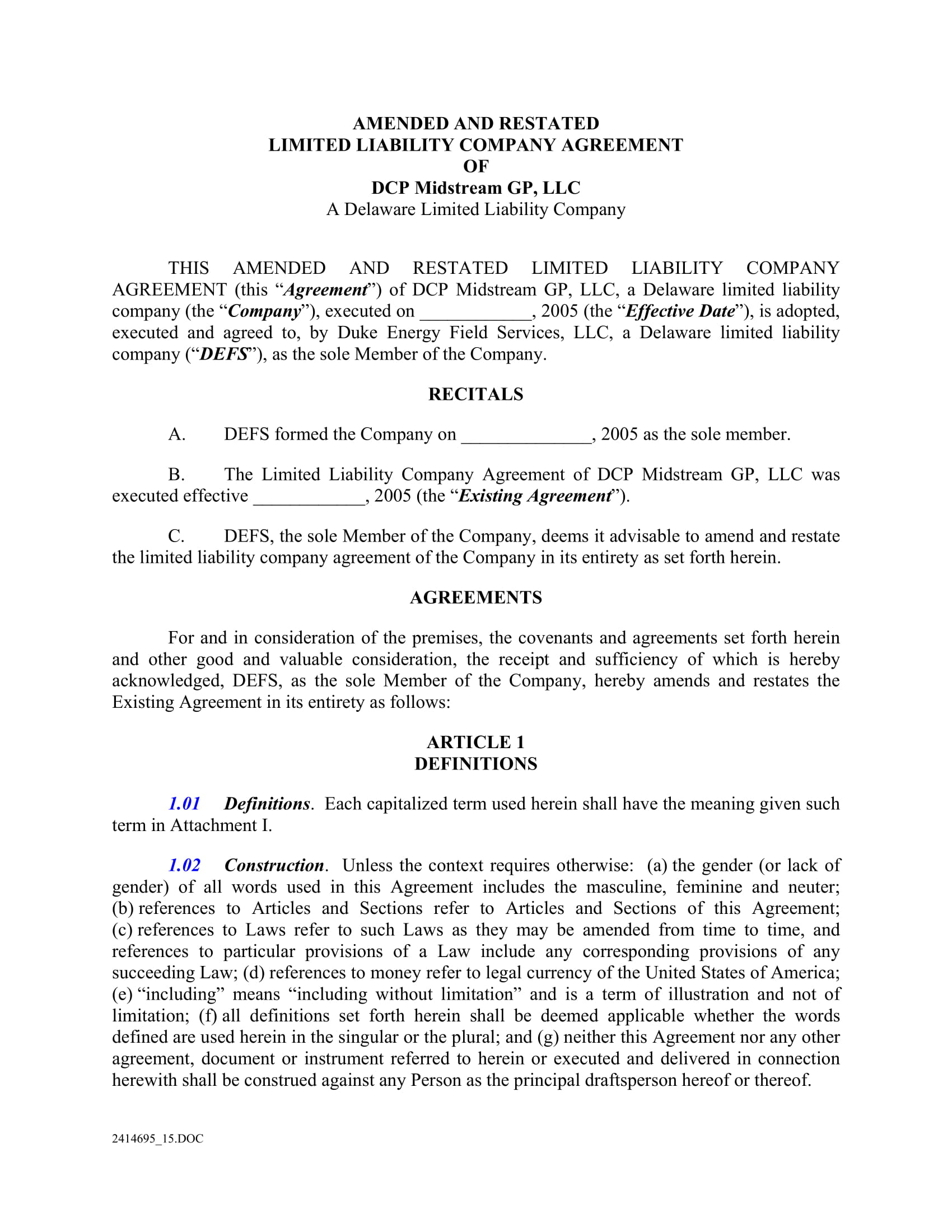 amended limited liability company agreement contract form 04
