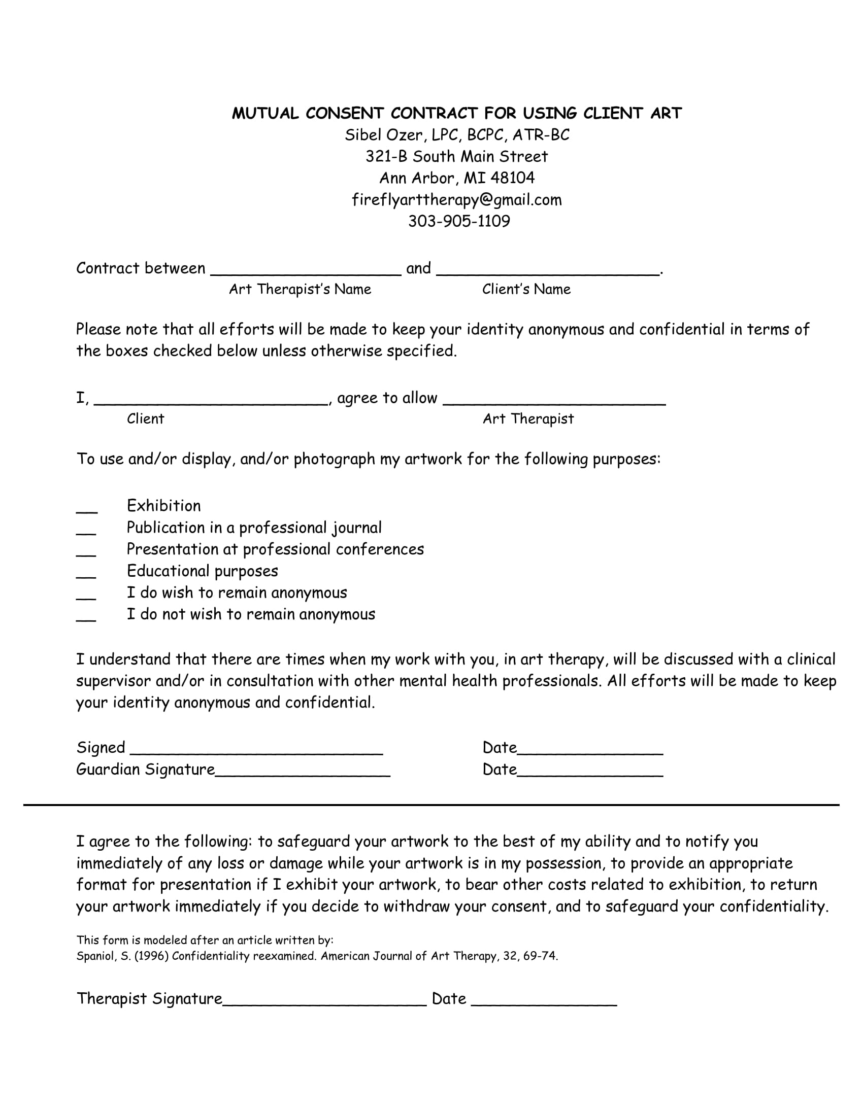 art usage mutual consent contract form 1