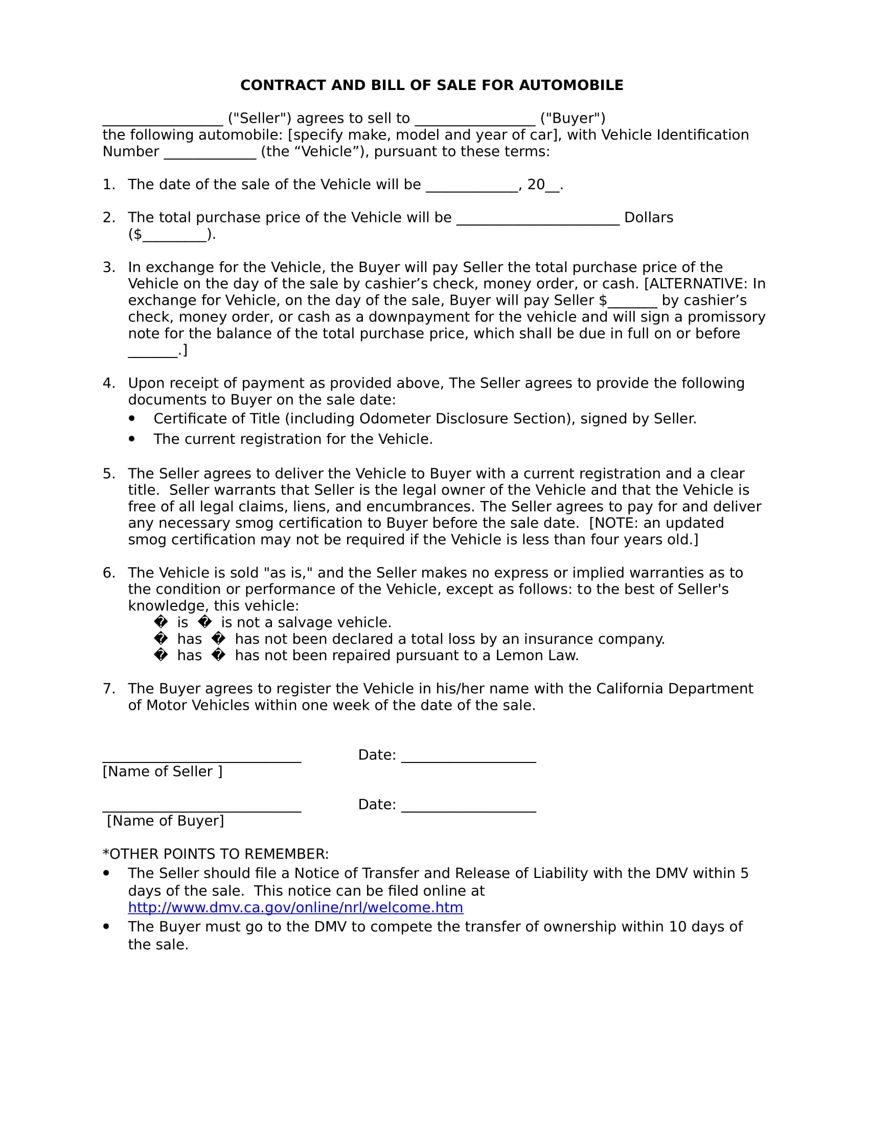 automobile bill of sale contract form in doc 1