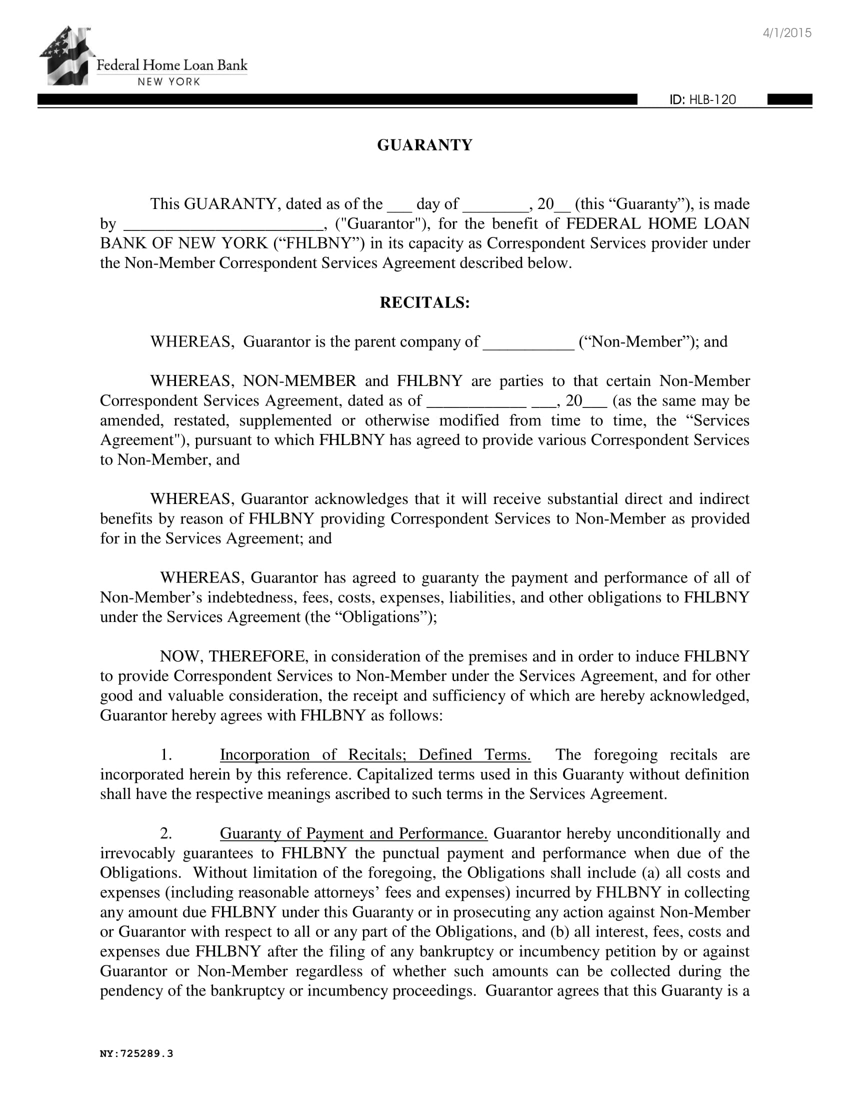 6 Guaranty Agreement Contract Forms Pdf Doc