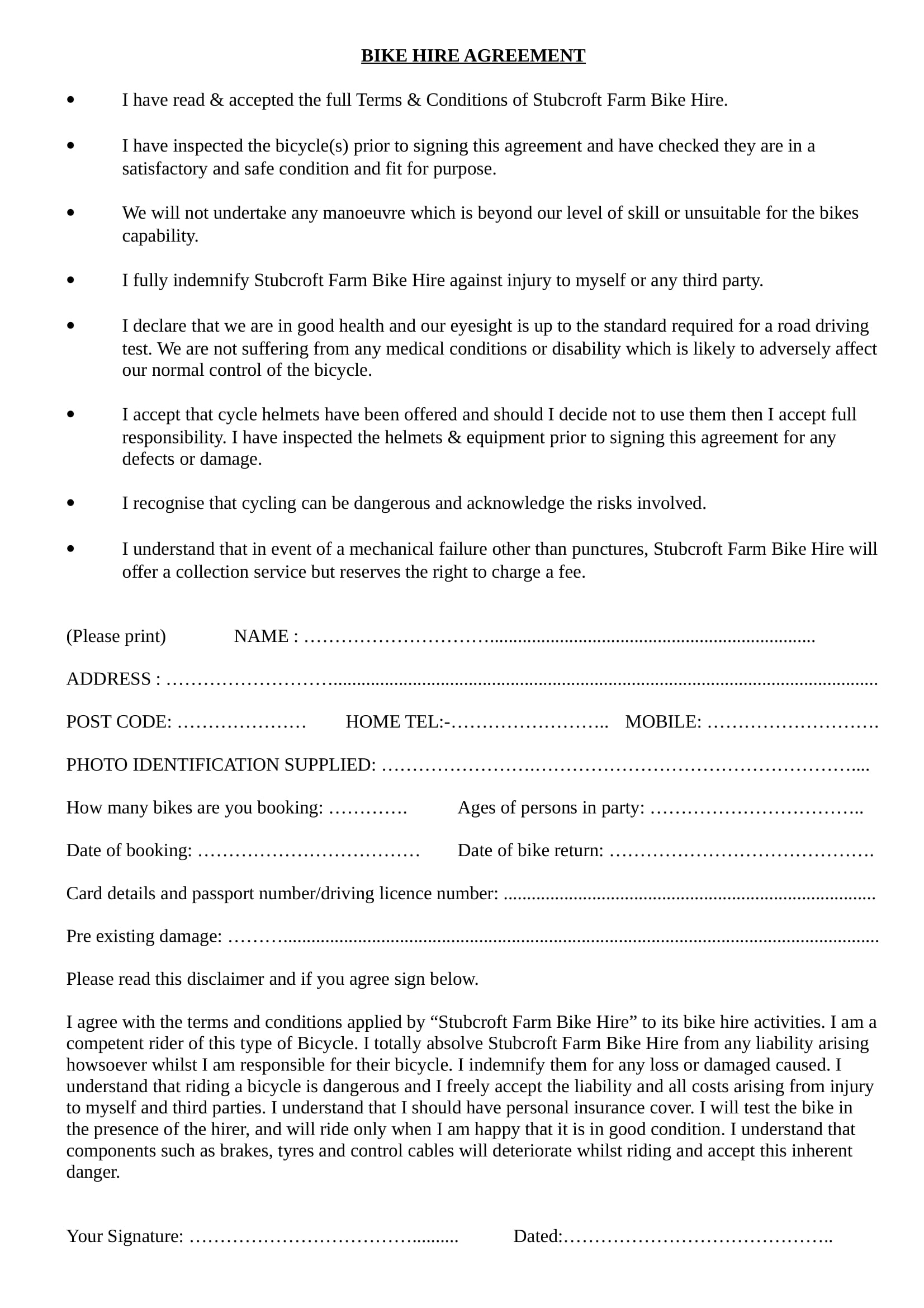 bike hire agreement contract form 1
